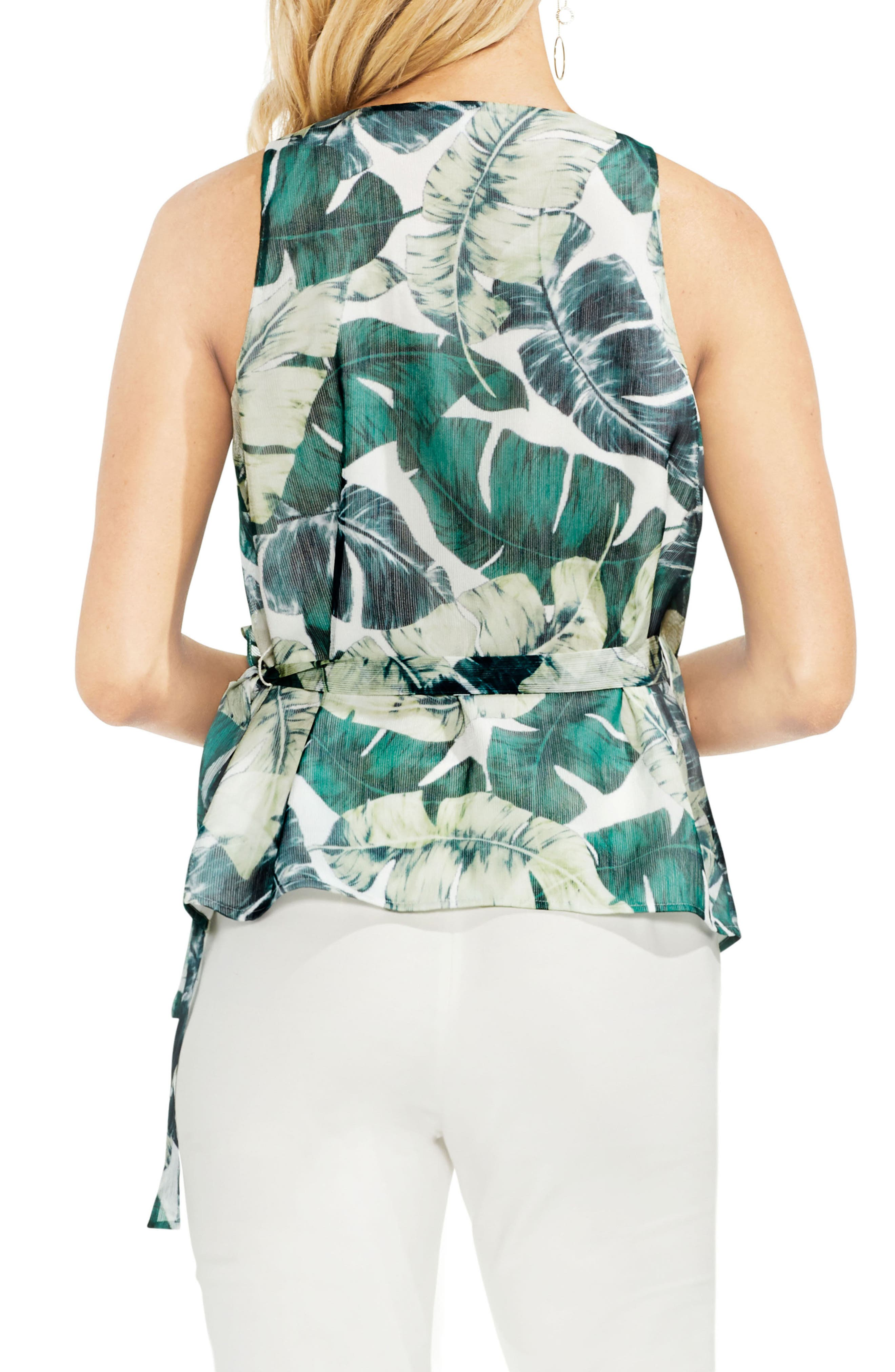 Jungle Palm Wrap Front Top,                             Alternate thumbnail 2, color,                             New Ivory