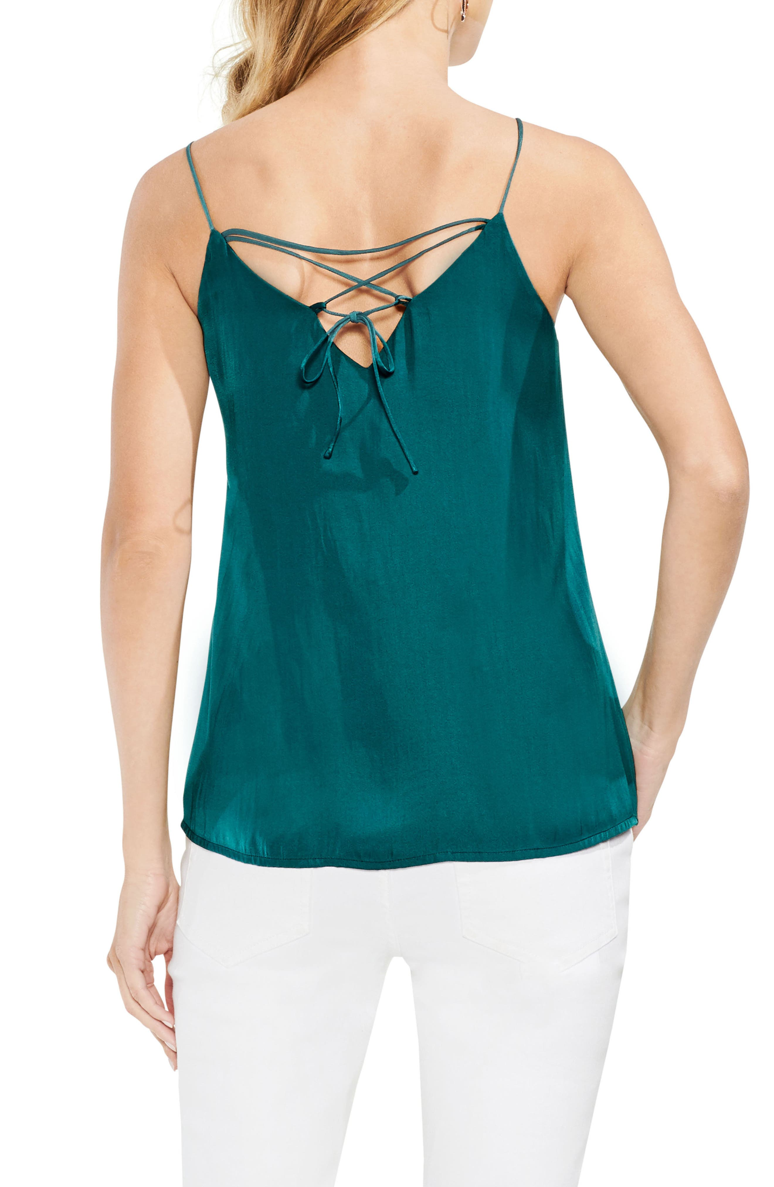 Lace-Up Back Camisole,                             Alternate thumbnail 2, color,                             Verdant Green