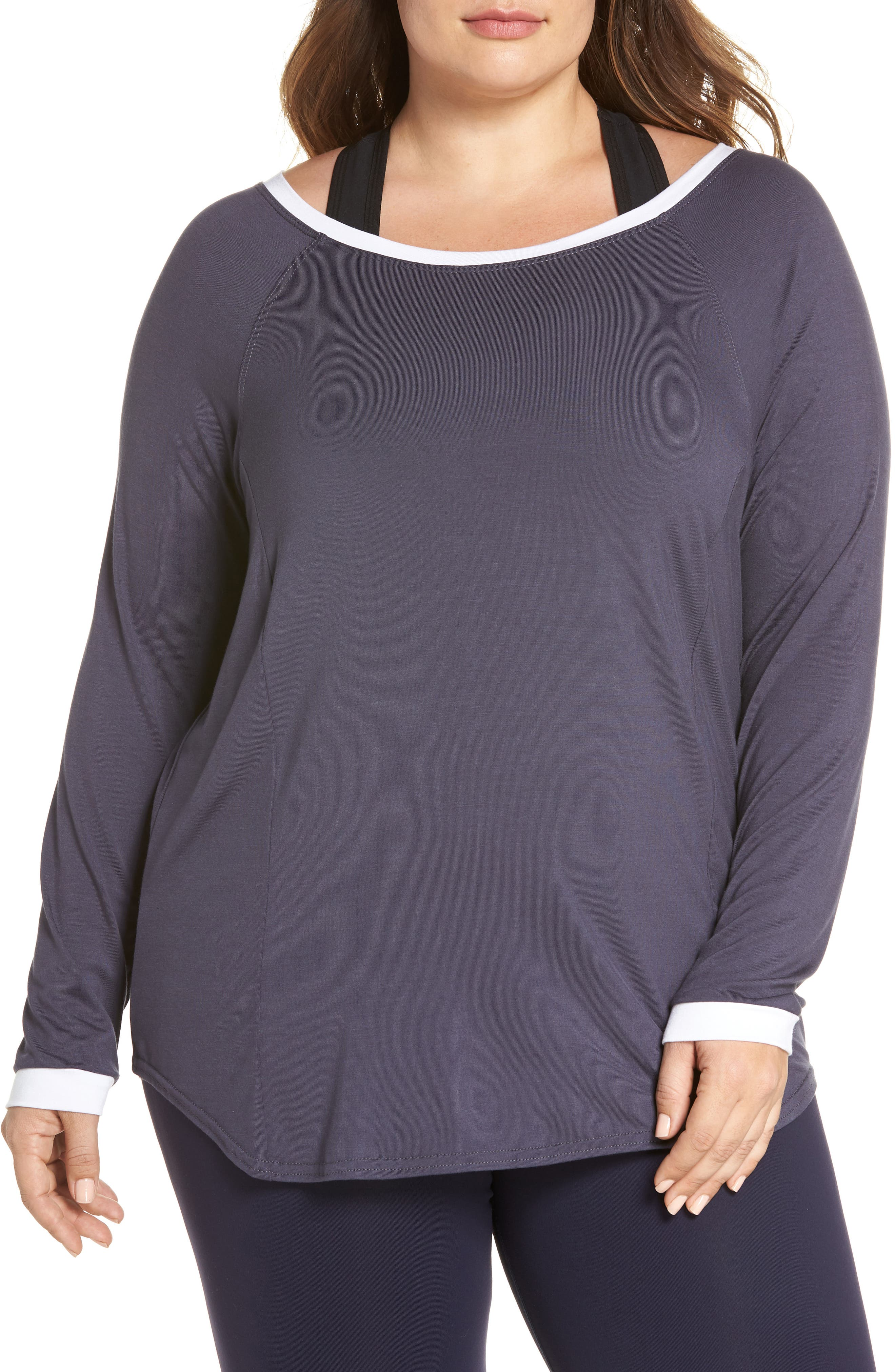 Back Stripe Tee,                         Main,                         color, Charcoal Grey/ White