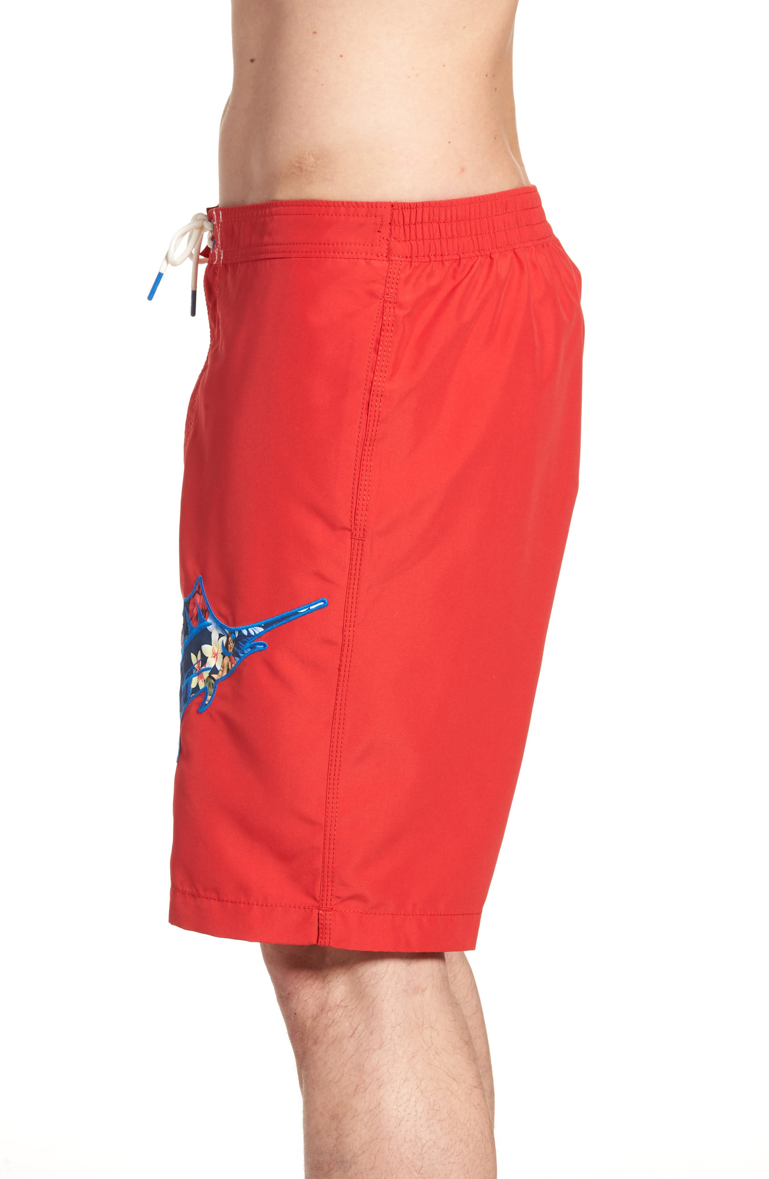 Baja Hula Holiday Marlin Board Shorts,                             Alternate thumbnail 3, color,                             Ribbon Red