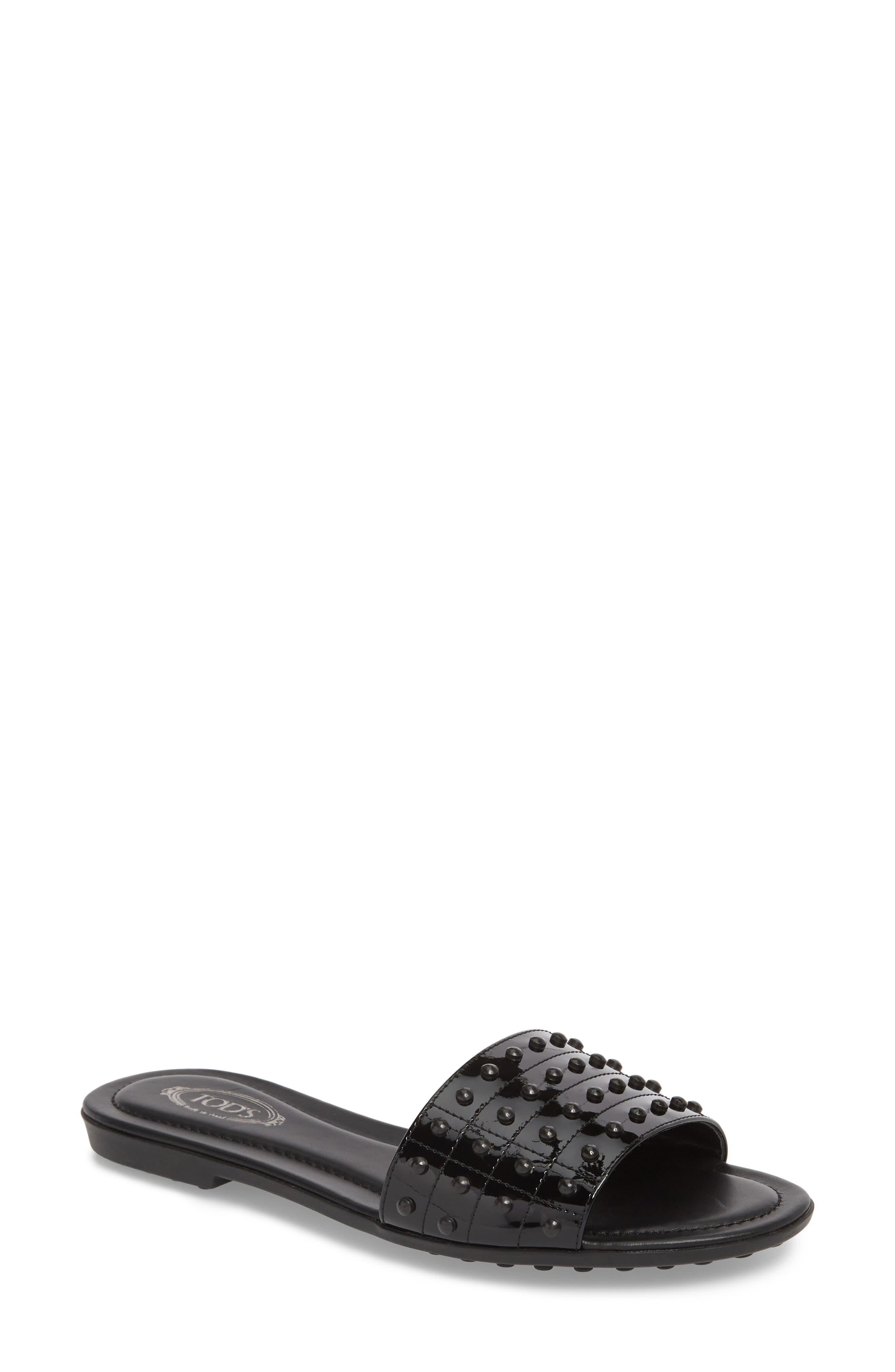 Gommini Slide Sandal,                             Main thumbnail 1, color,                             Black