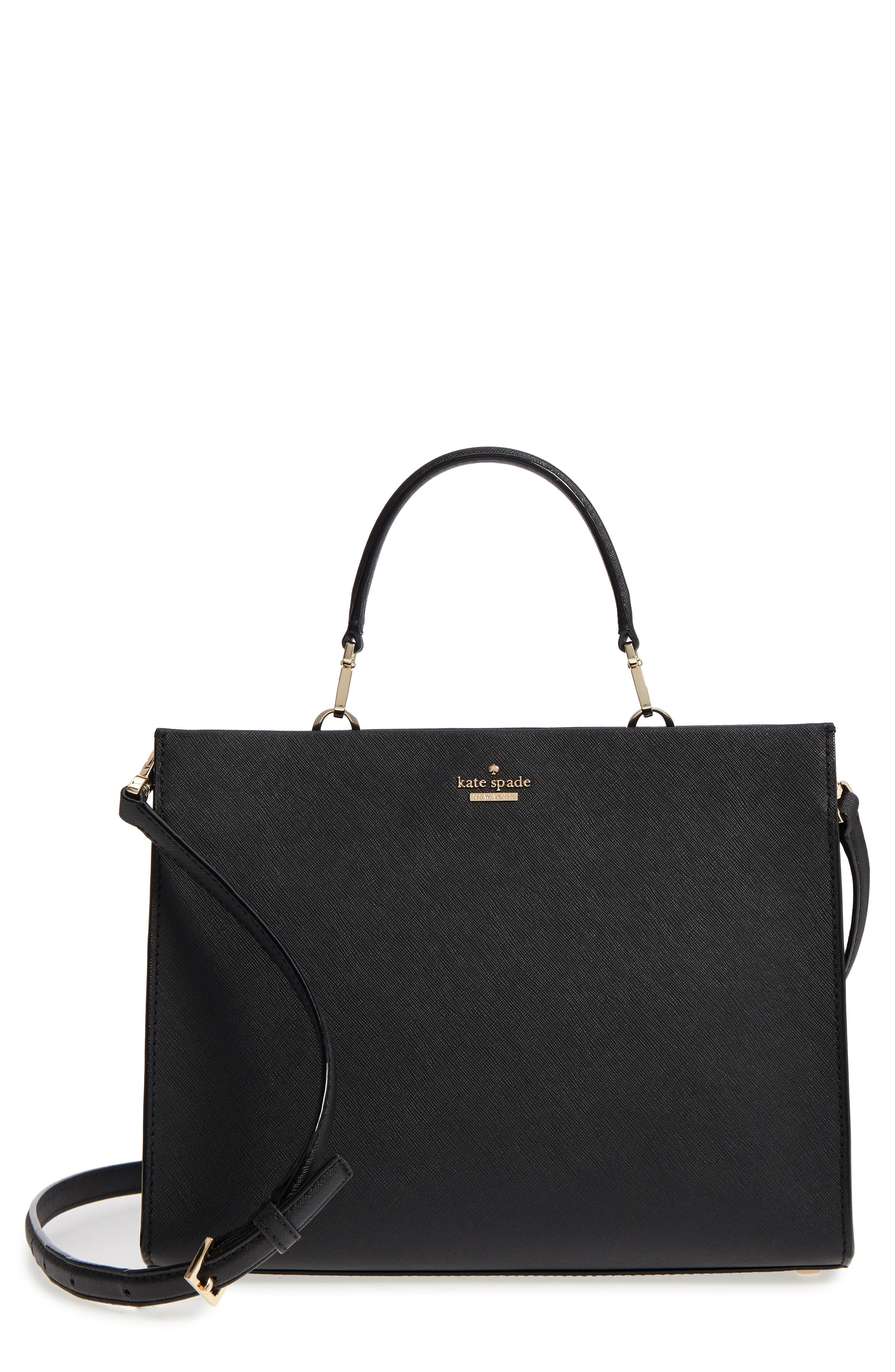 cameron street - sara leather satchel,                         Main,                         color, Black
