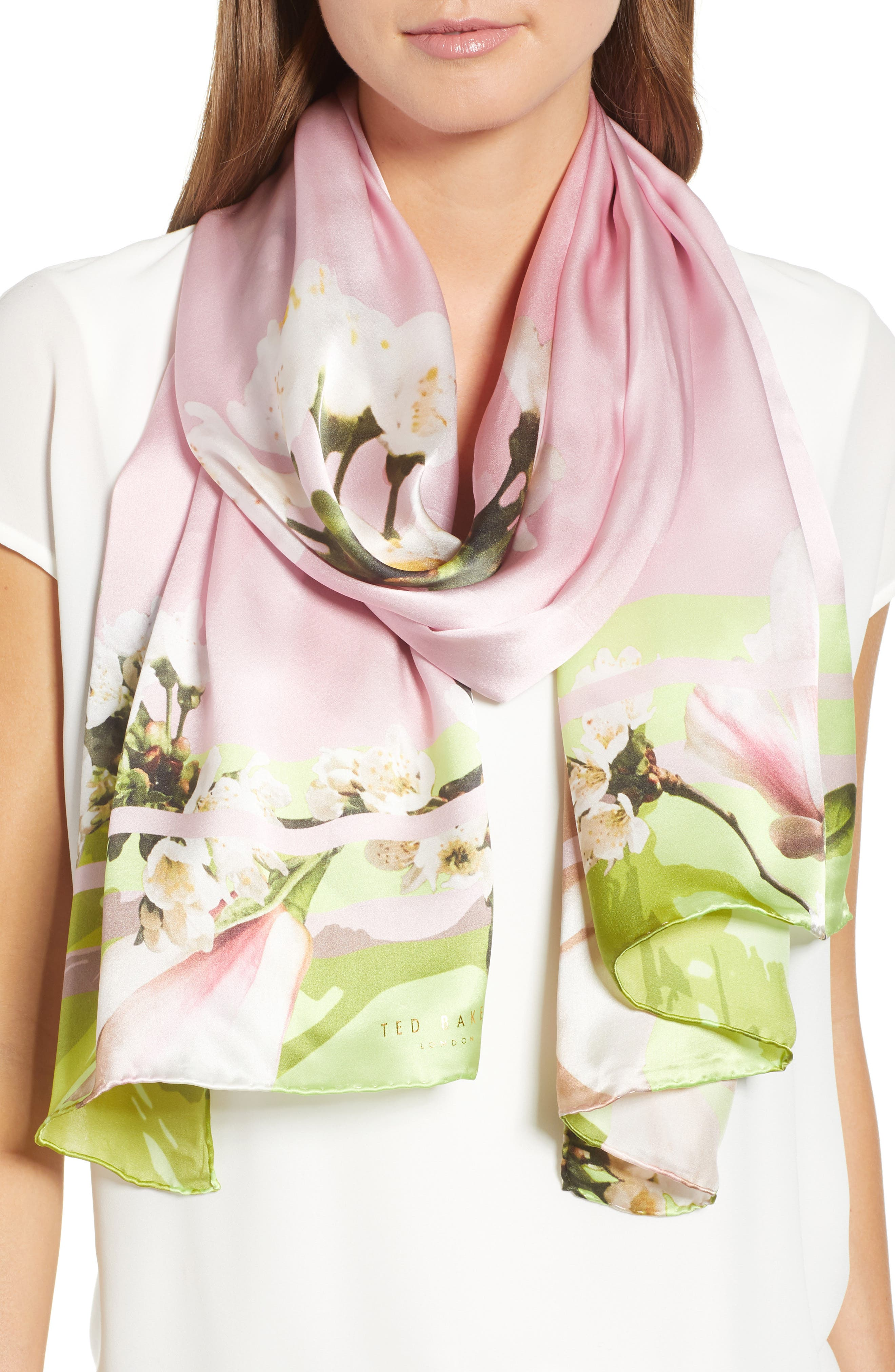Harmony Silk Scarf,                         Main,                         color, Pale Pink