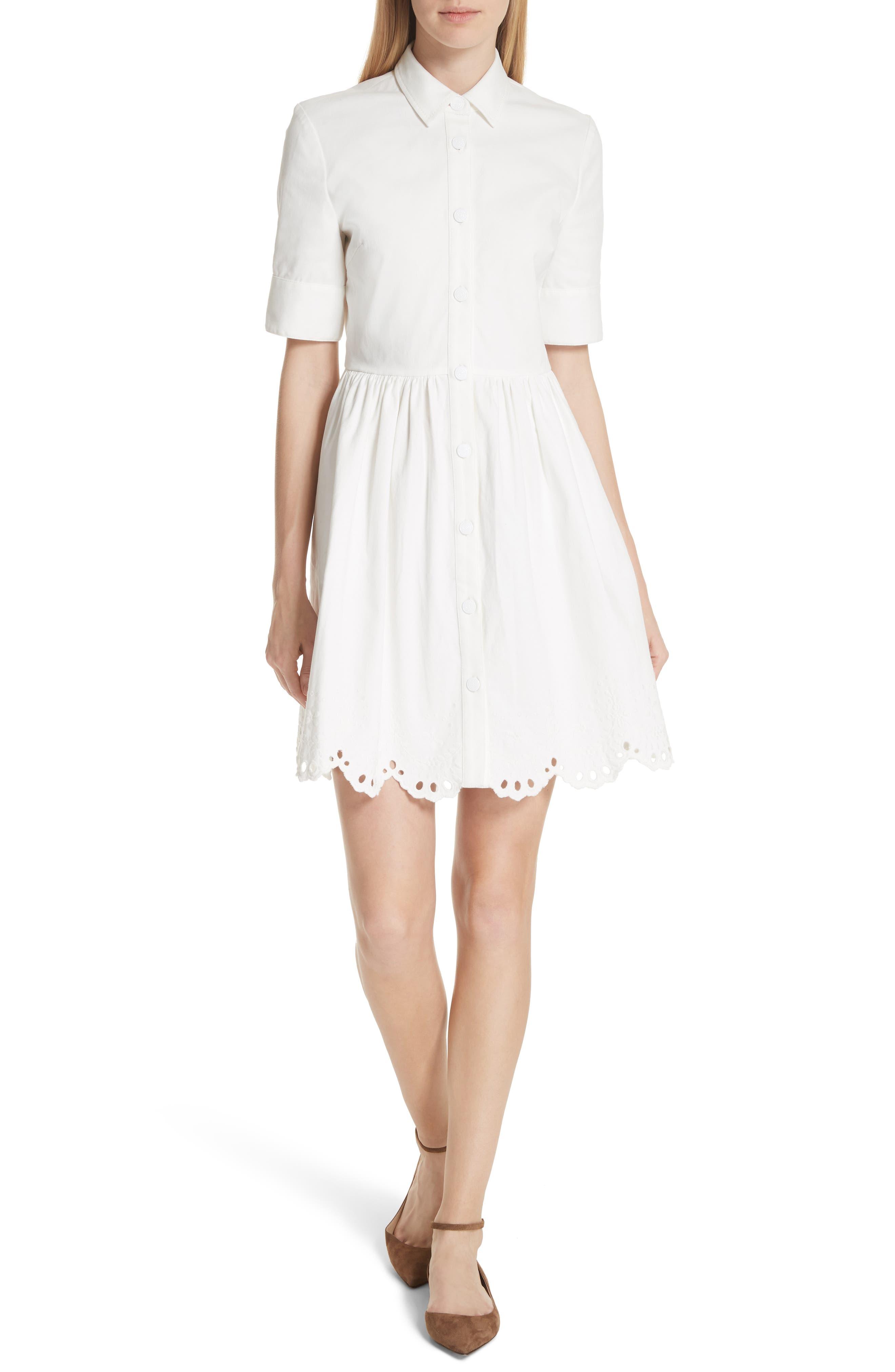 cutwork denim shirtdress,                             Main thumbnail 1, color,                             White