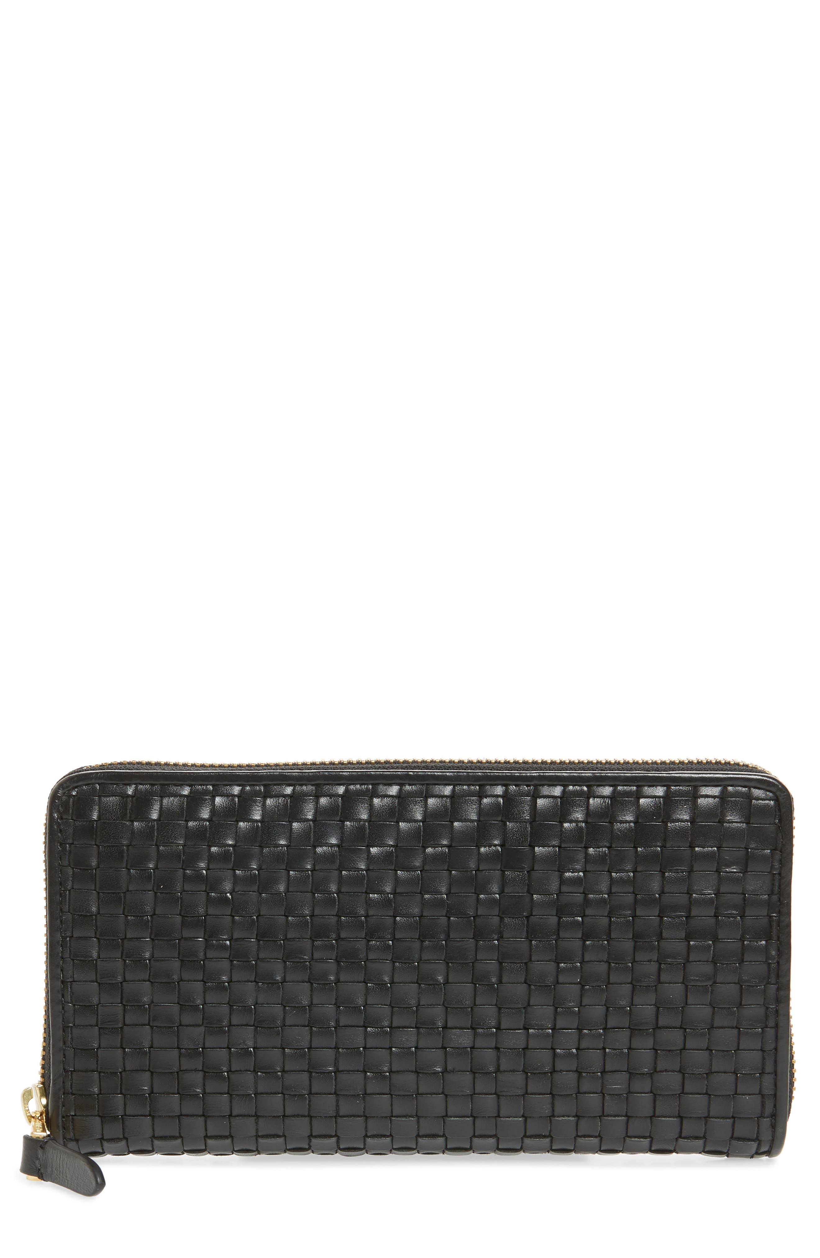 Zoe Woven RFID Leather Continental Zip Wallet,                         Main,                         color, Black