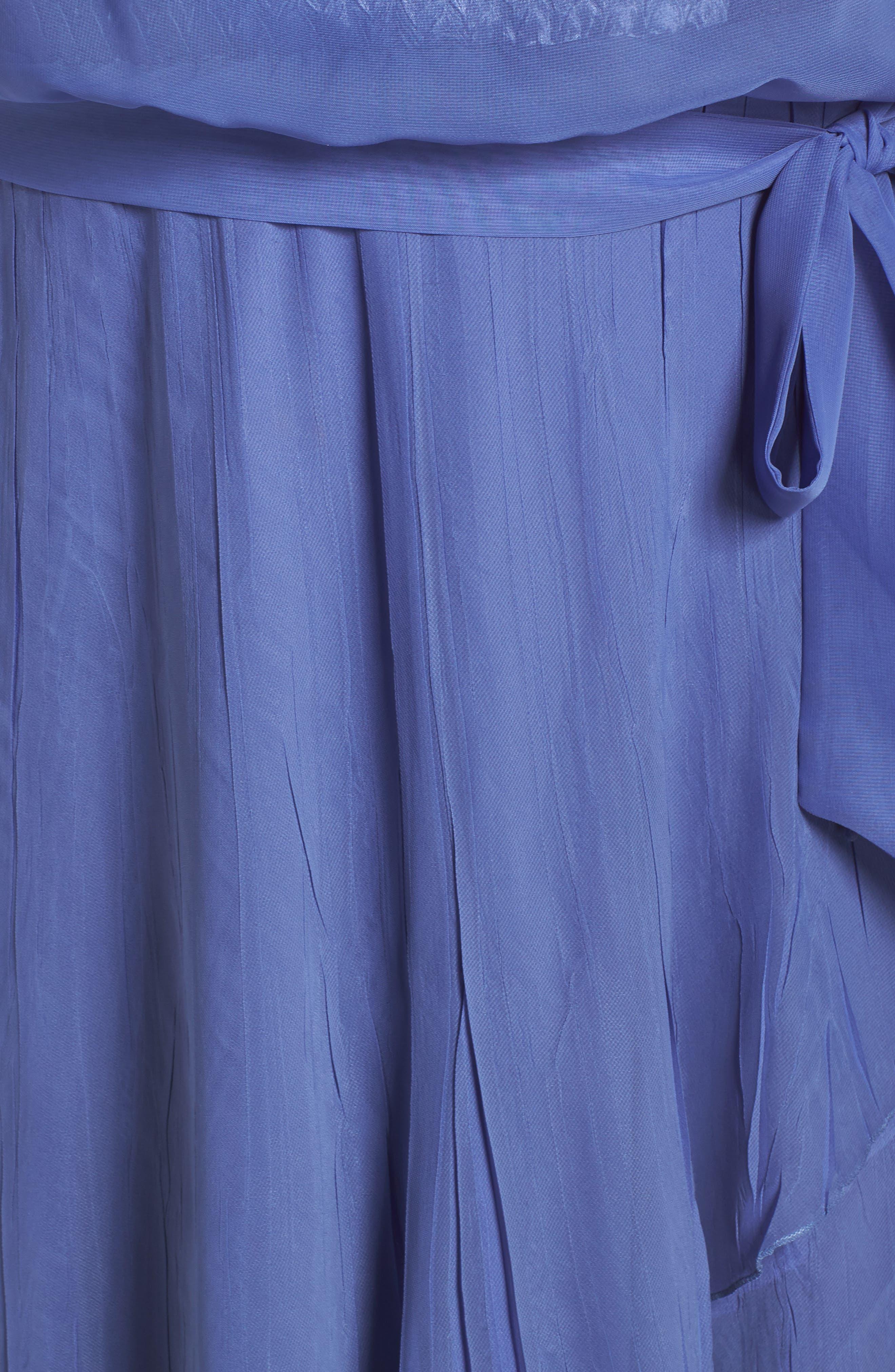 Charmeuse & Chiffon Blouson Dress,                             Alternate thumbnail 6, color,                             Fregatta Blue Ombre