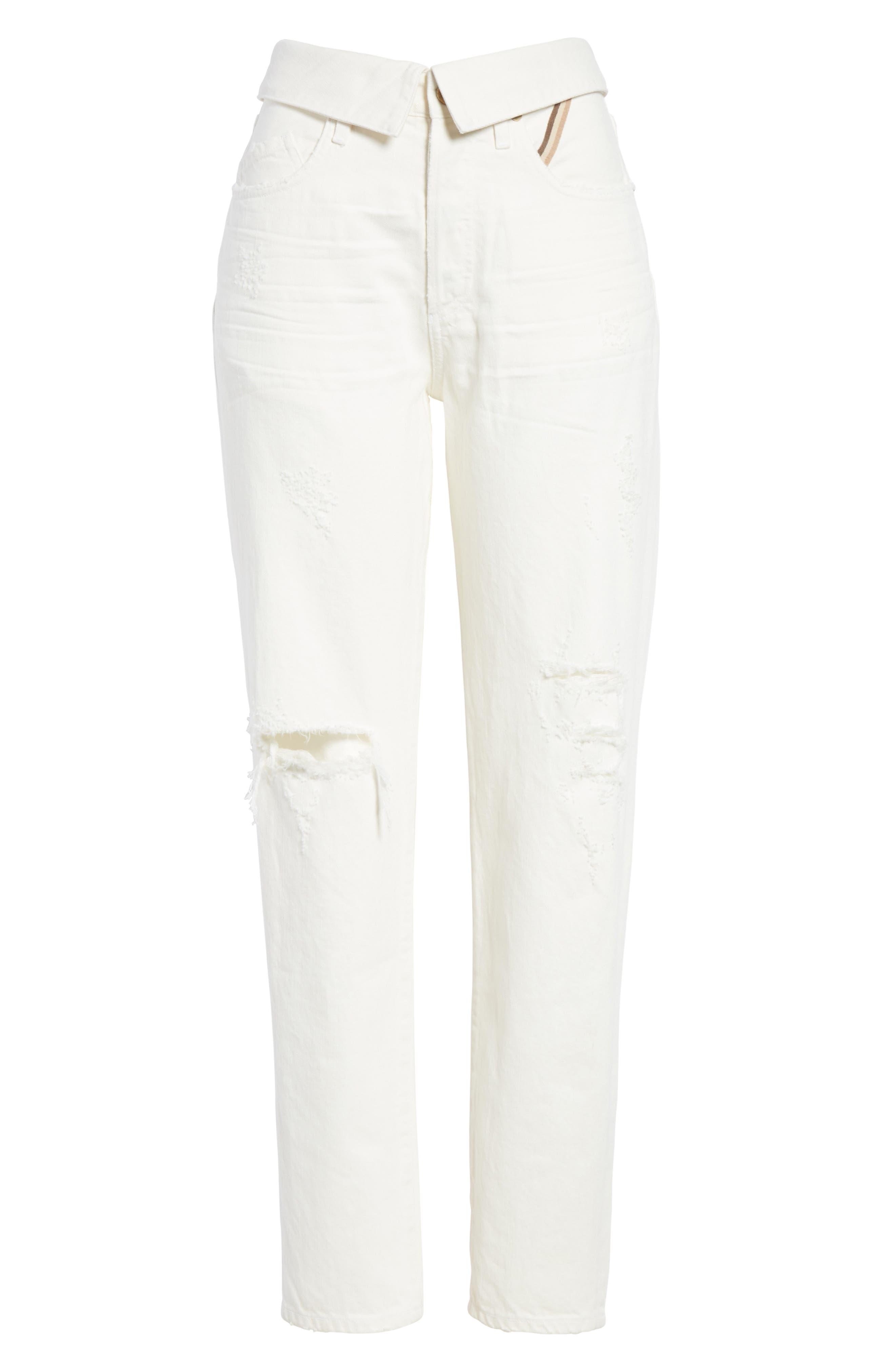 Flip Straight Leg Jeans,                             Alternate thumbnail 6, color,                             White Sand