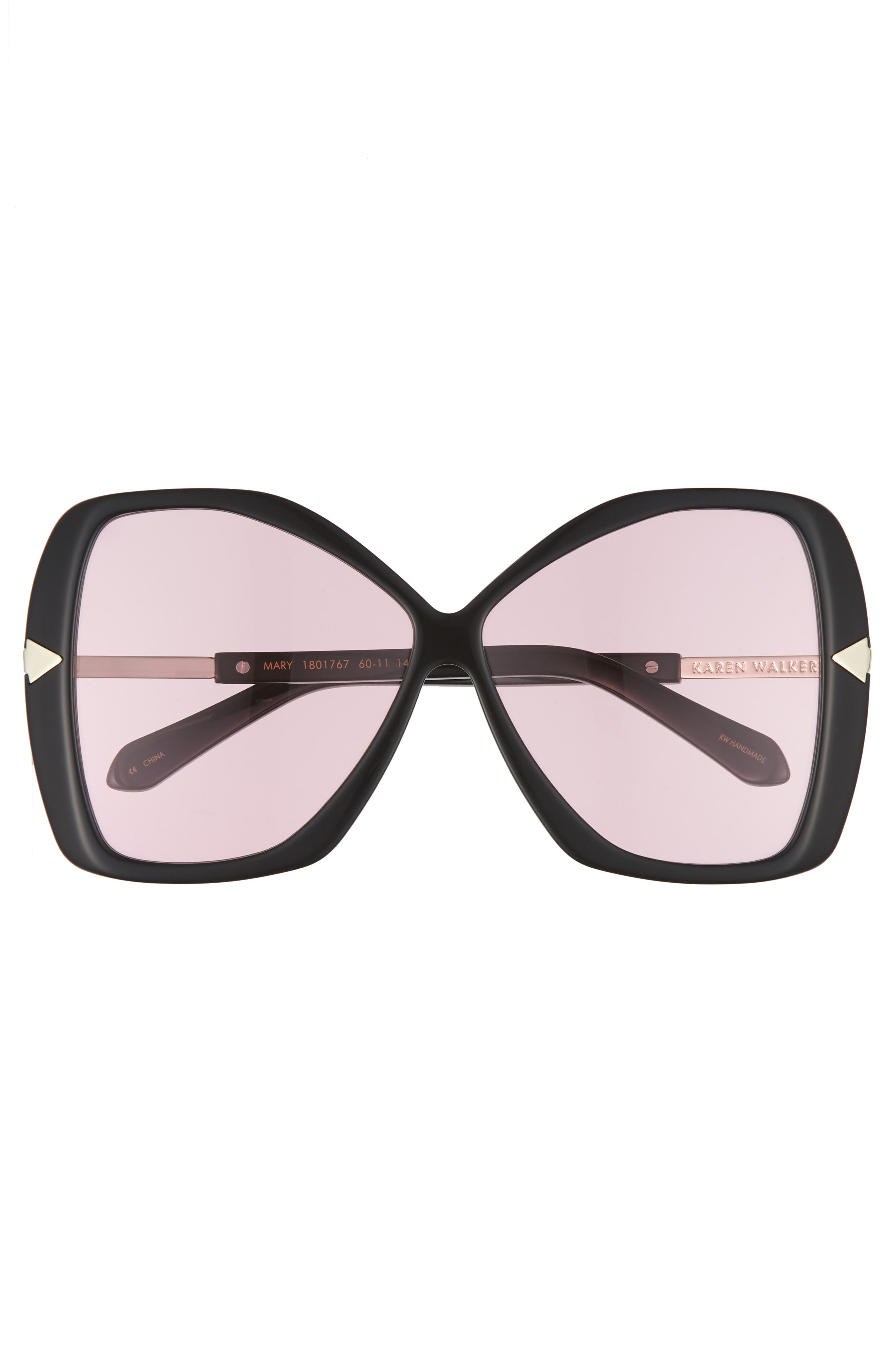 Mary 60mm Butterfly Sunglasses,                             Alternate thumbnail 3, color,                             Black