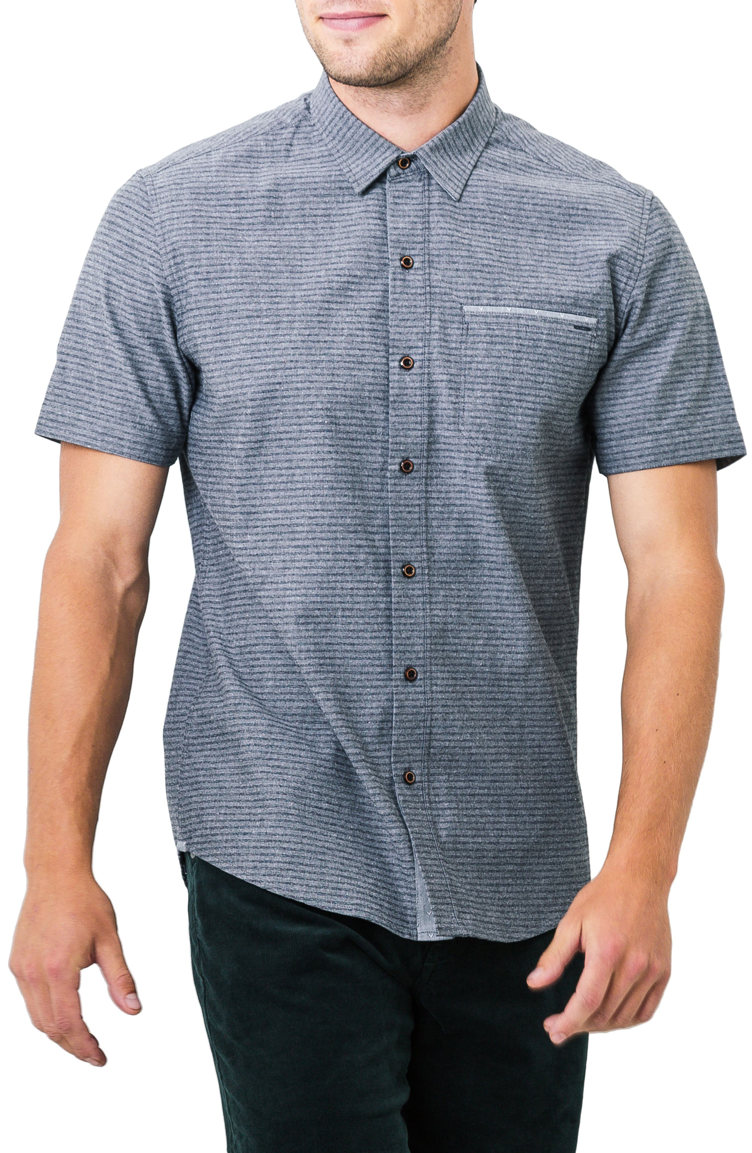 The Crunch Slim Fit Short Sleeve Sport Shirt,                         Main,                         color, Graphite