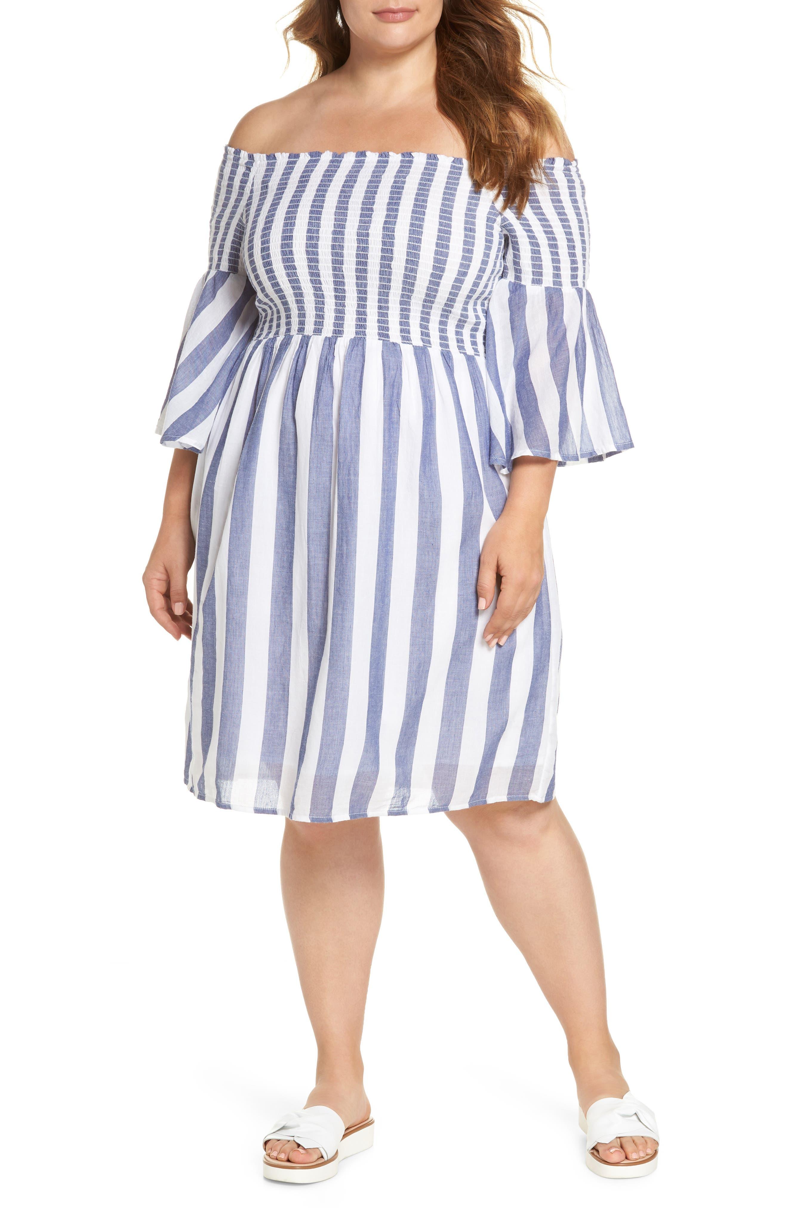 Off the Shoulder Stripe Smocked Dress,                             Main thumbnail 1, color,                             Blue Multi