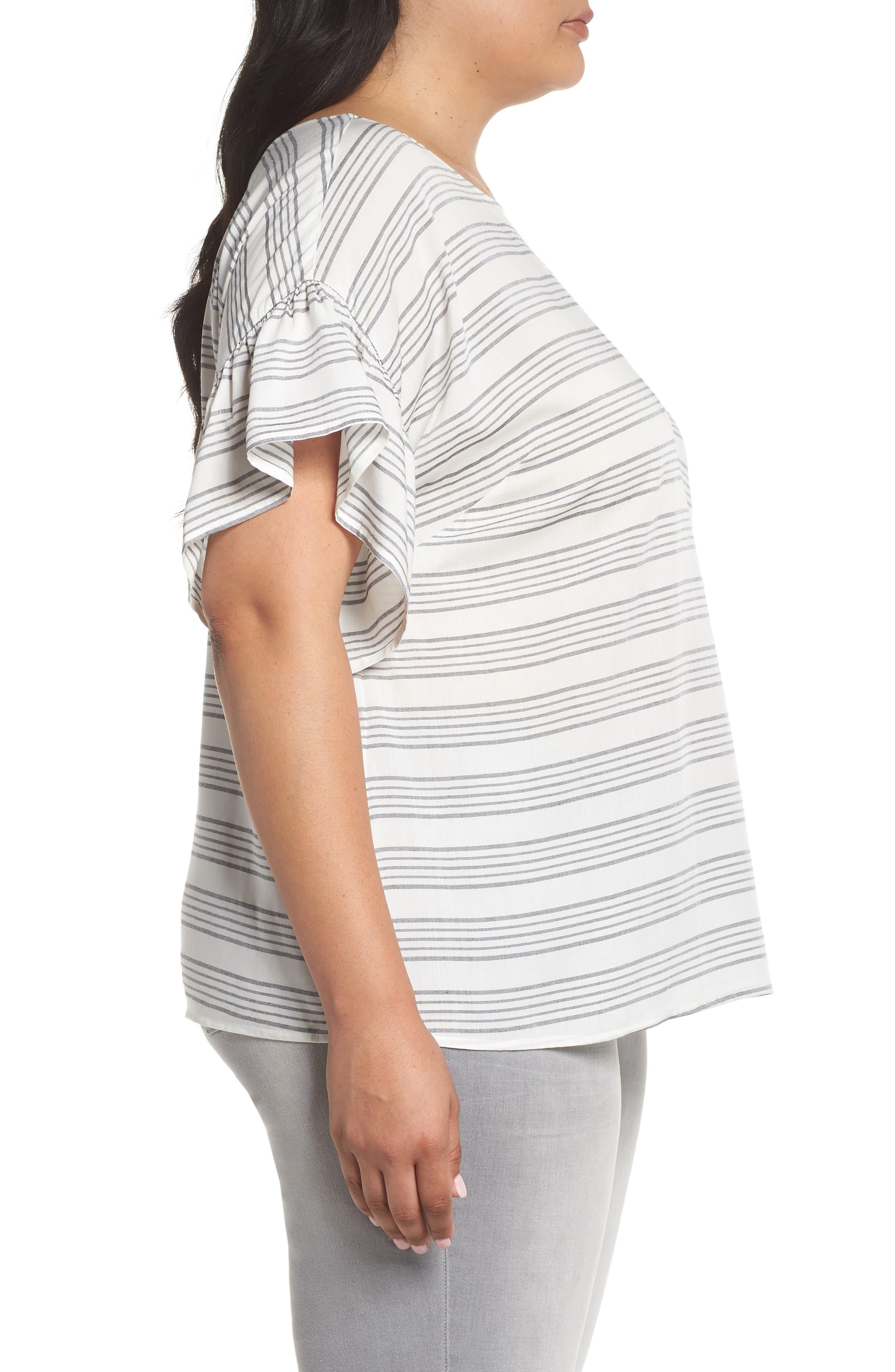Ruffle Sleeve Bar Stripe Top,                             Alternate thumbnail 3, color,                             New Ivory