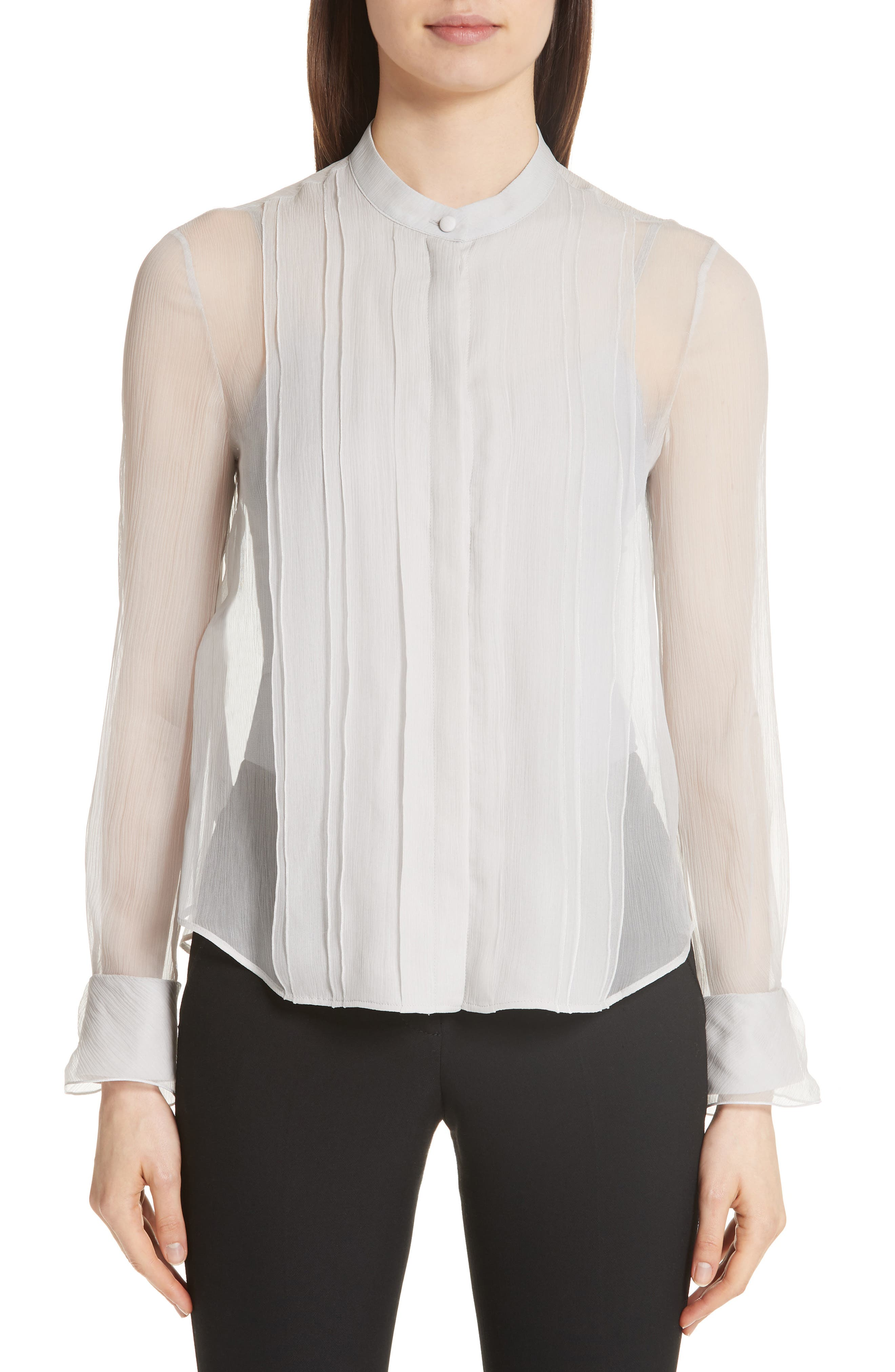 Emporio Armani Crinkle Layered Silk Shirt