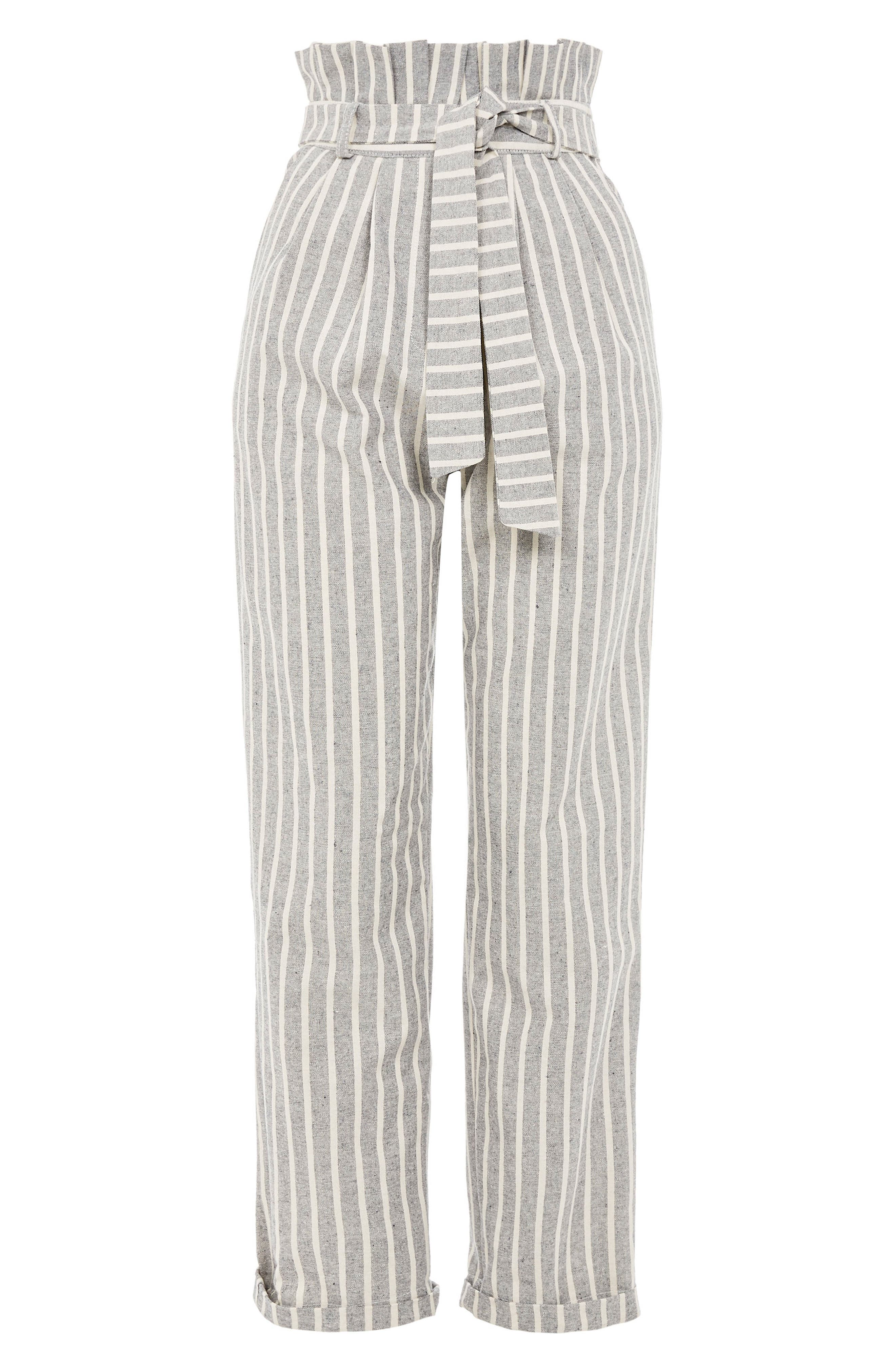 Alternate Image 4  - Topshop Belted Stripe Roll-Cuff Trousers