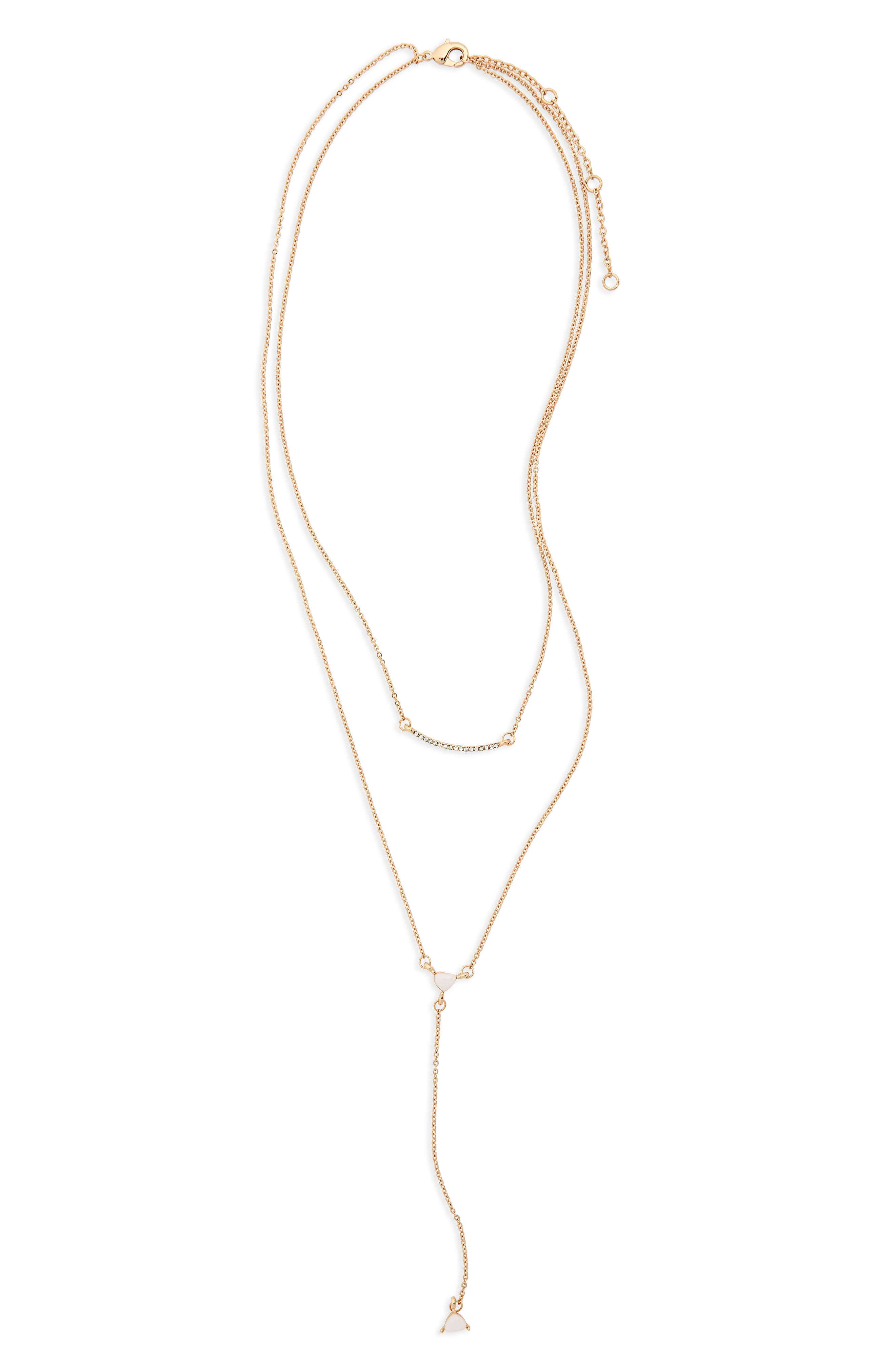 Stone Drop Pendant Necklace,                         Main,                         color, Gold/ White/ Crystal
