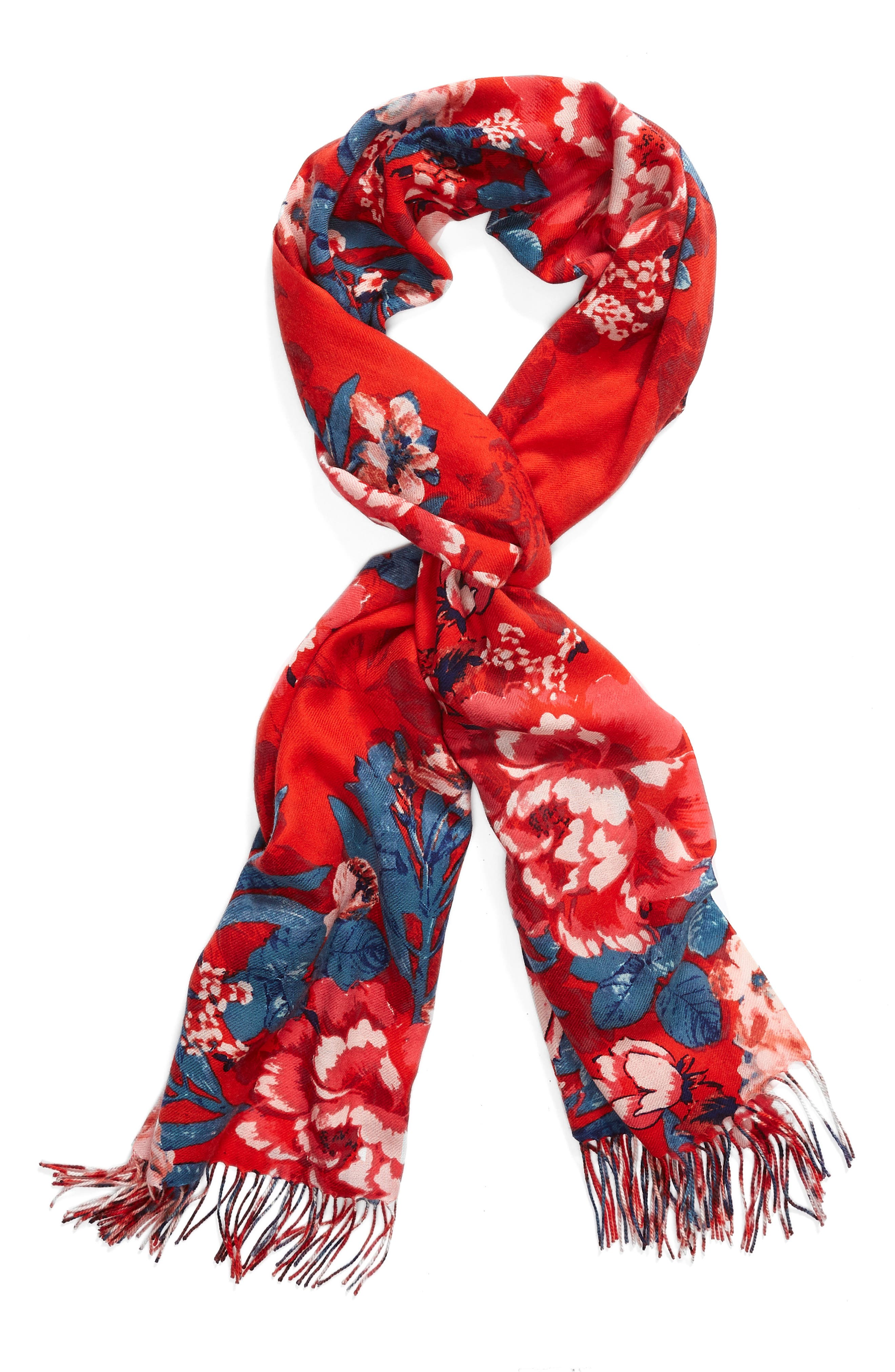 Tissue Print Wool & Cashmere Wrap Scarf,                             Alternate thumbnail 2, color,                             Red Artful Blooms