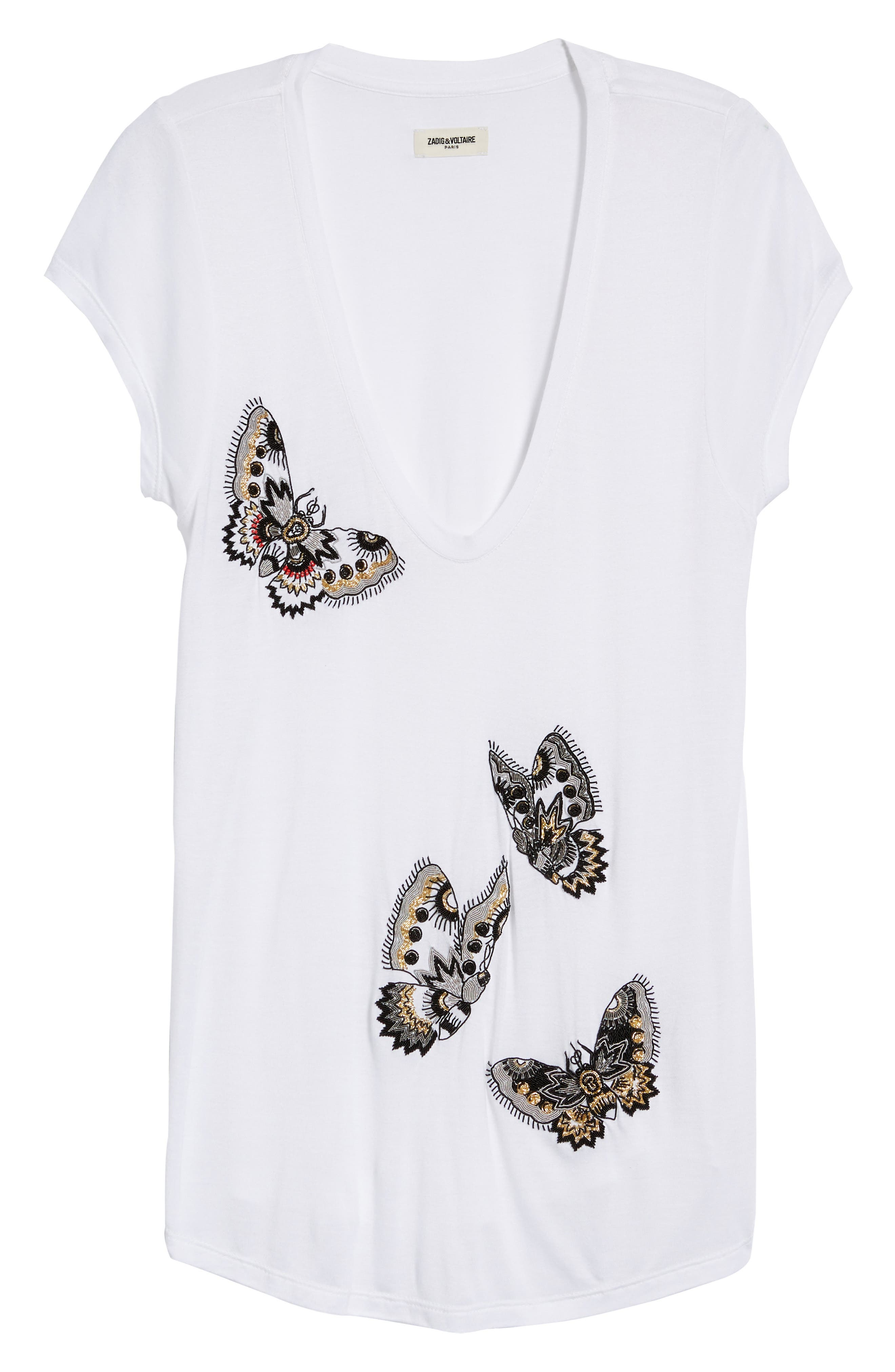 Tiny Cannet Butterfly Tee,                             Alternate thumbnail 7, color,                             Blanc