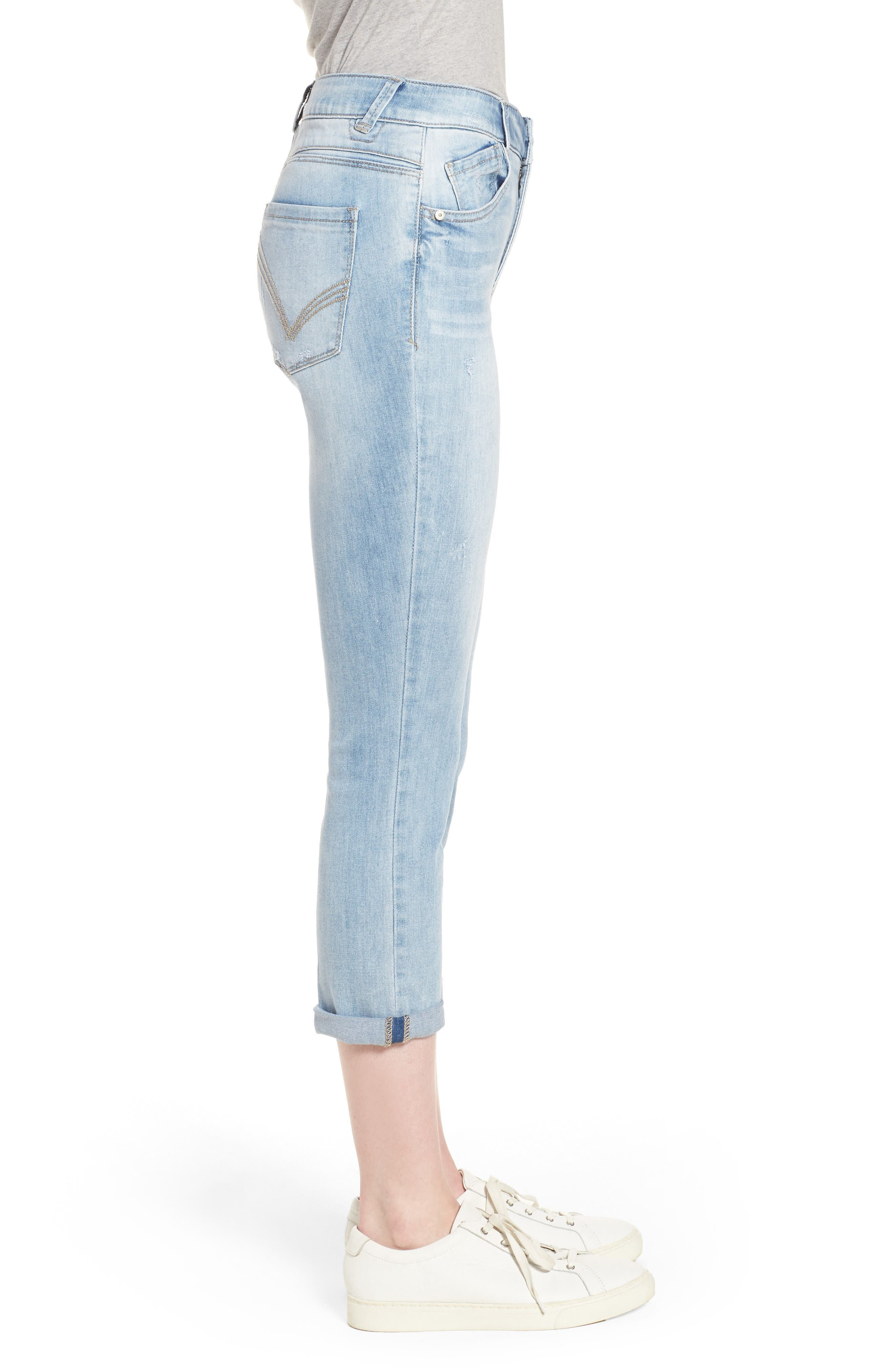Ab-solution High Rise Crop Jeans,                             Alternate thumbnail 3, color,                             Light Blue