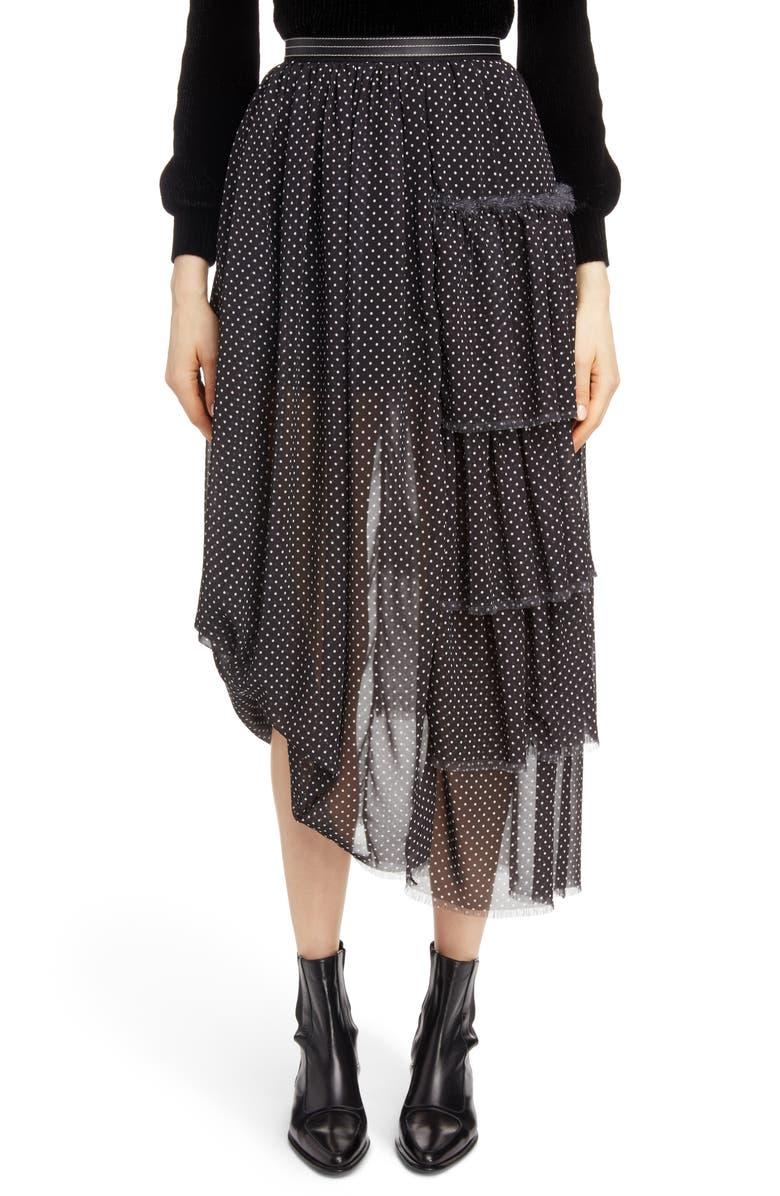 Polka Dot Asymmetrical Tiered Ruffle Skirt