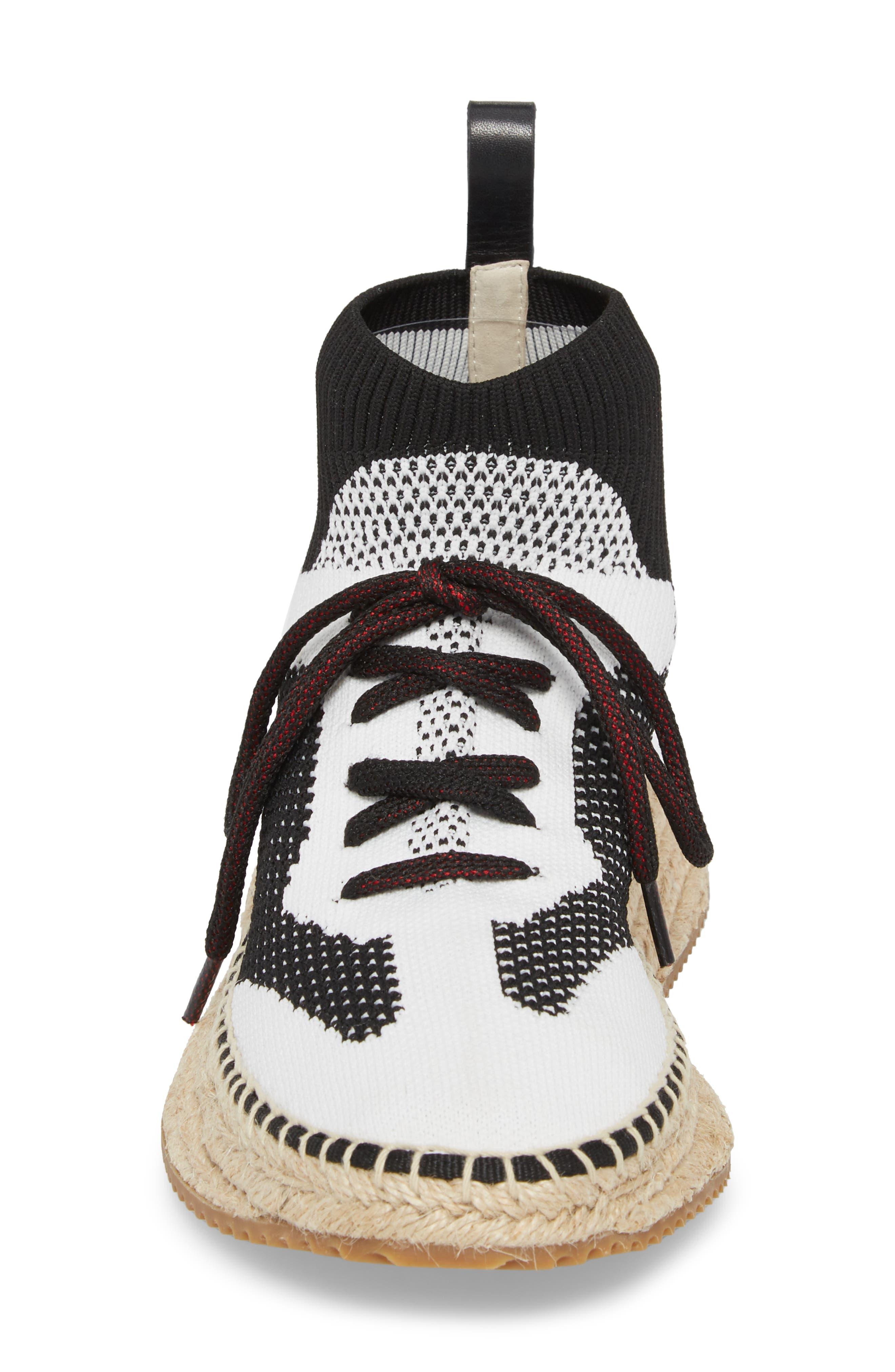 Dakota Espadrille Sock Sneaker,                             Alternate thumbnail 4, color,                             Black/ White/ Grey