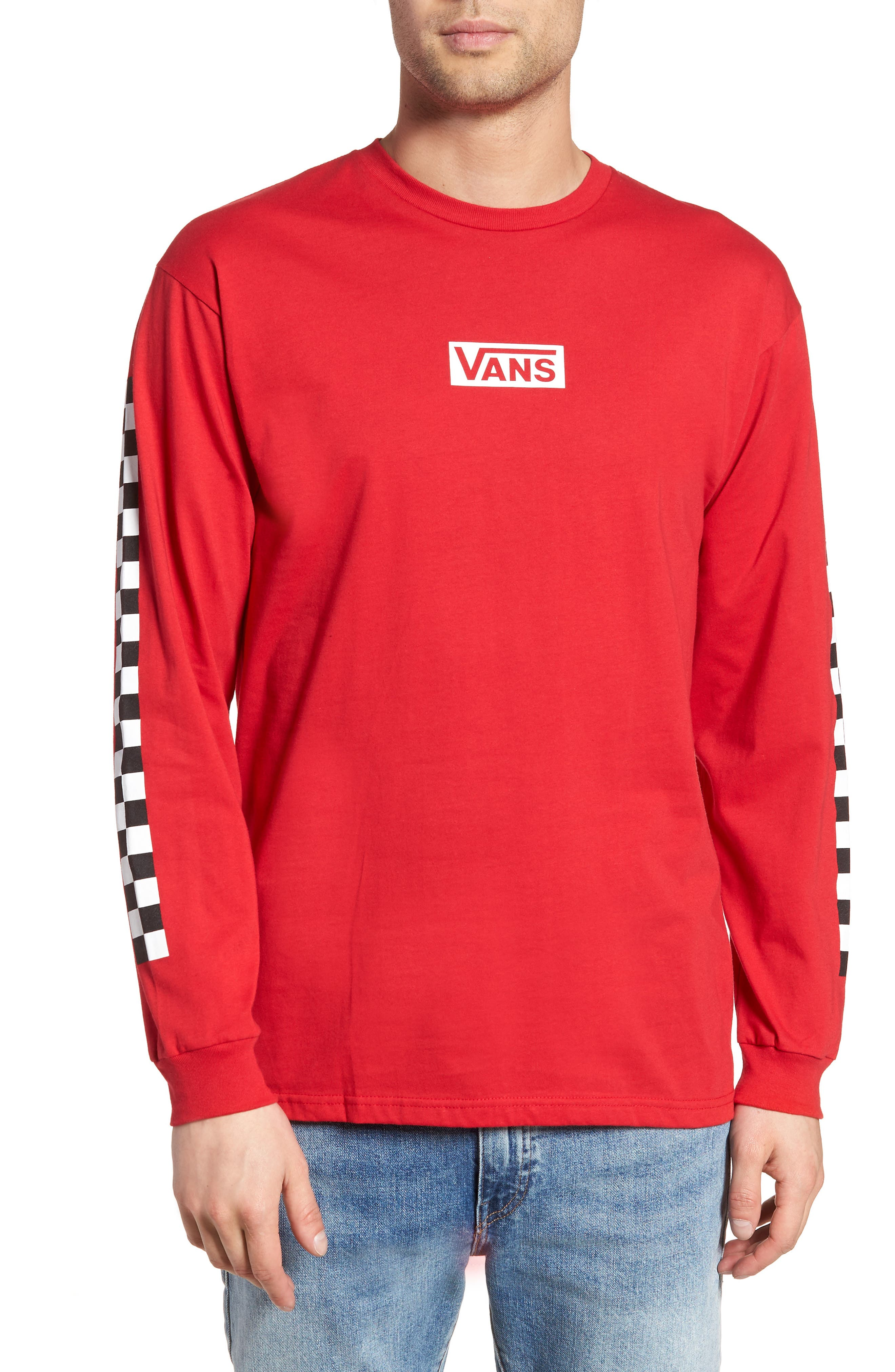 Classic Checkmate Long Sleeve T-Shirt,                         Main,                         color, Red/ Black