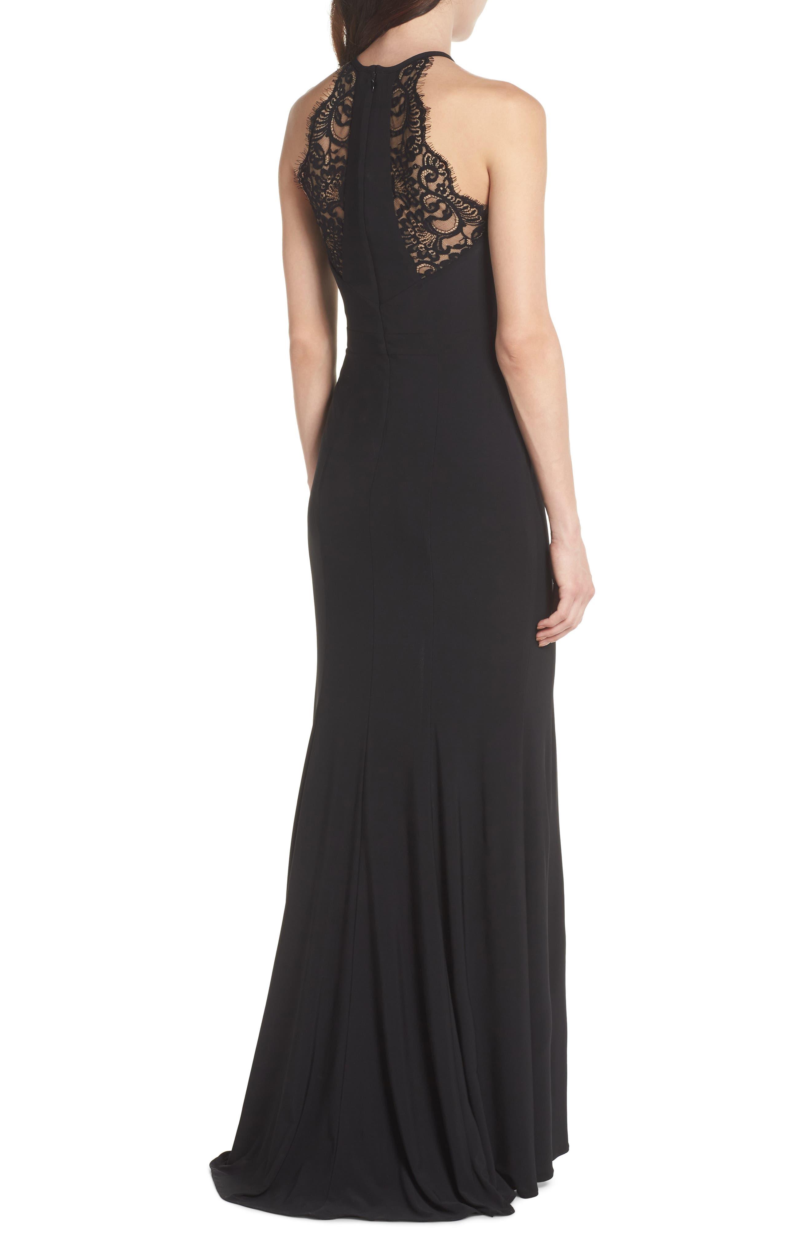Lace Neck Halter Gown,                             Alternate thumbnail 2, color,                             Black