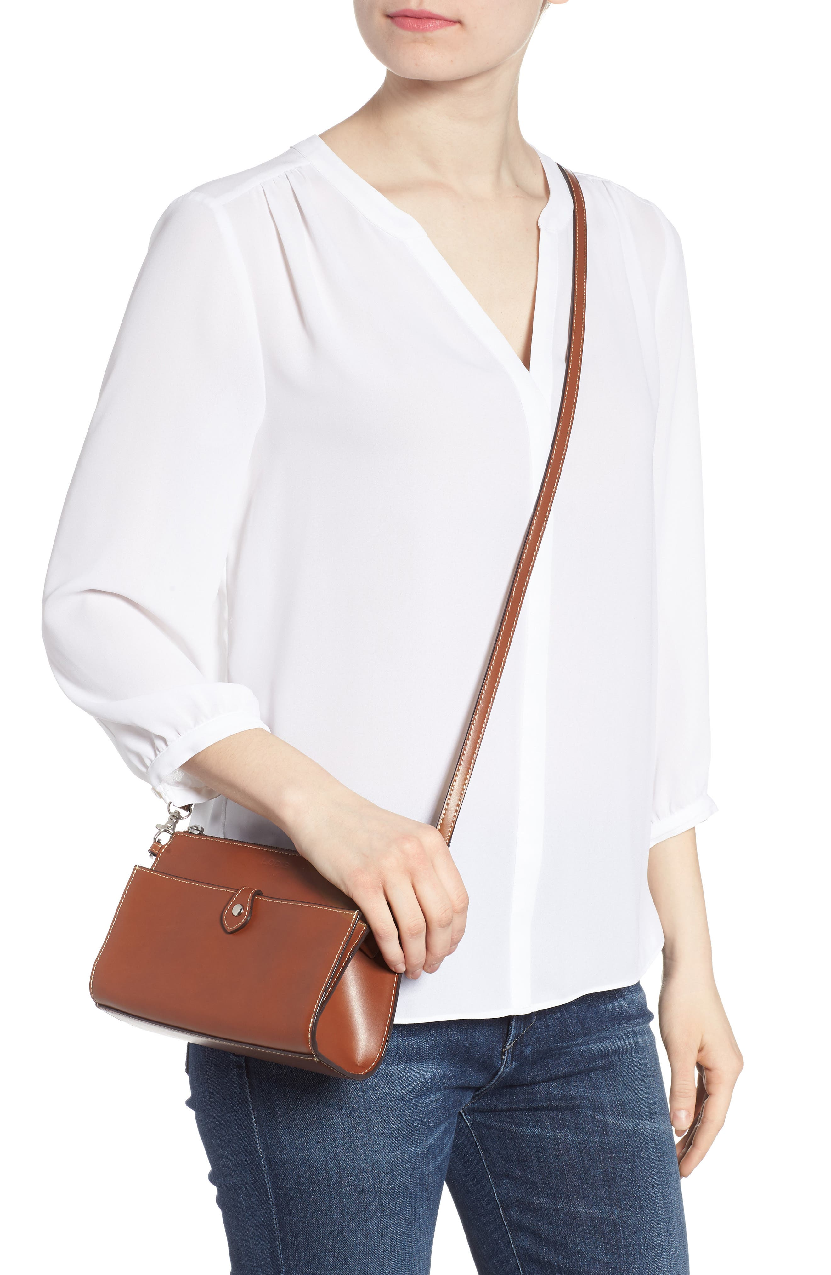 Audrey Under Lock & Key Vicky Convertible Leather Crossbody Bag,                             Alternate thumbnail 2, color,                             Sequoia/ Papaya