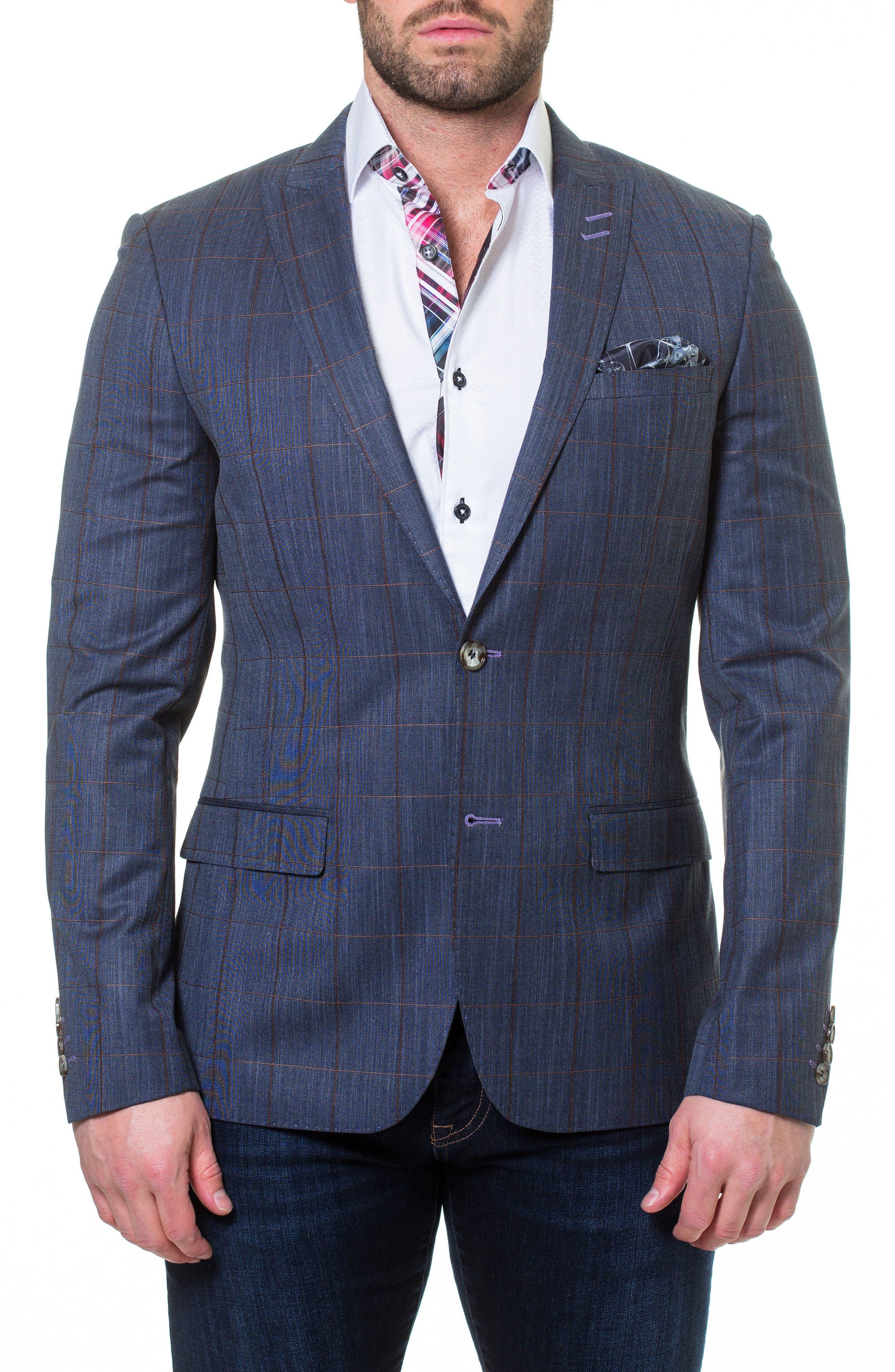 Descartes Check Linen & Cotton Blend Sport Coat,                             Main thumbnail 1, color,                             Blue