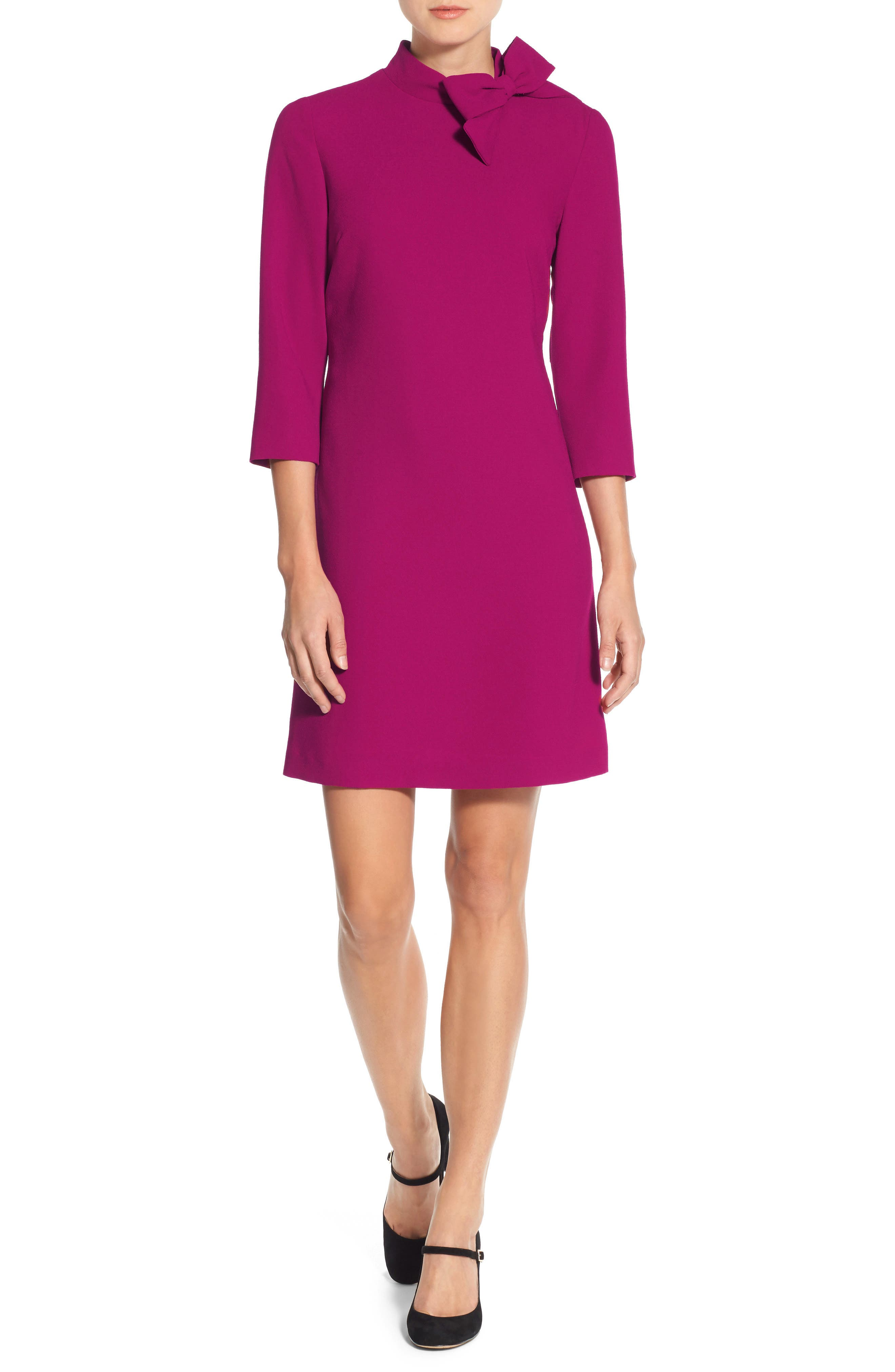 Bow Crepe A-Line Dress,                             Alternate thumbnail 5, color,                             Pink