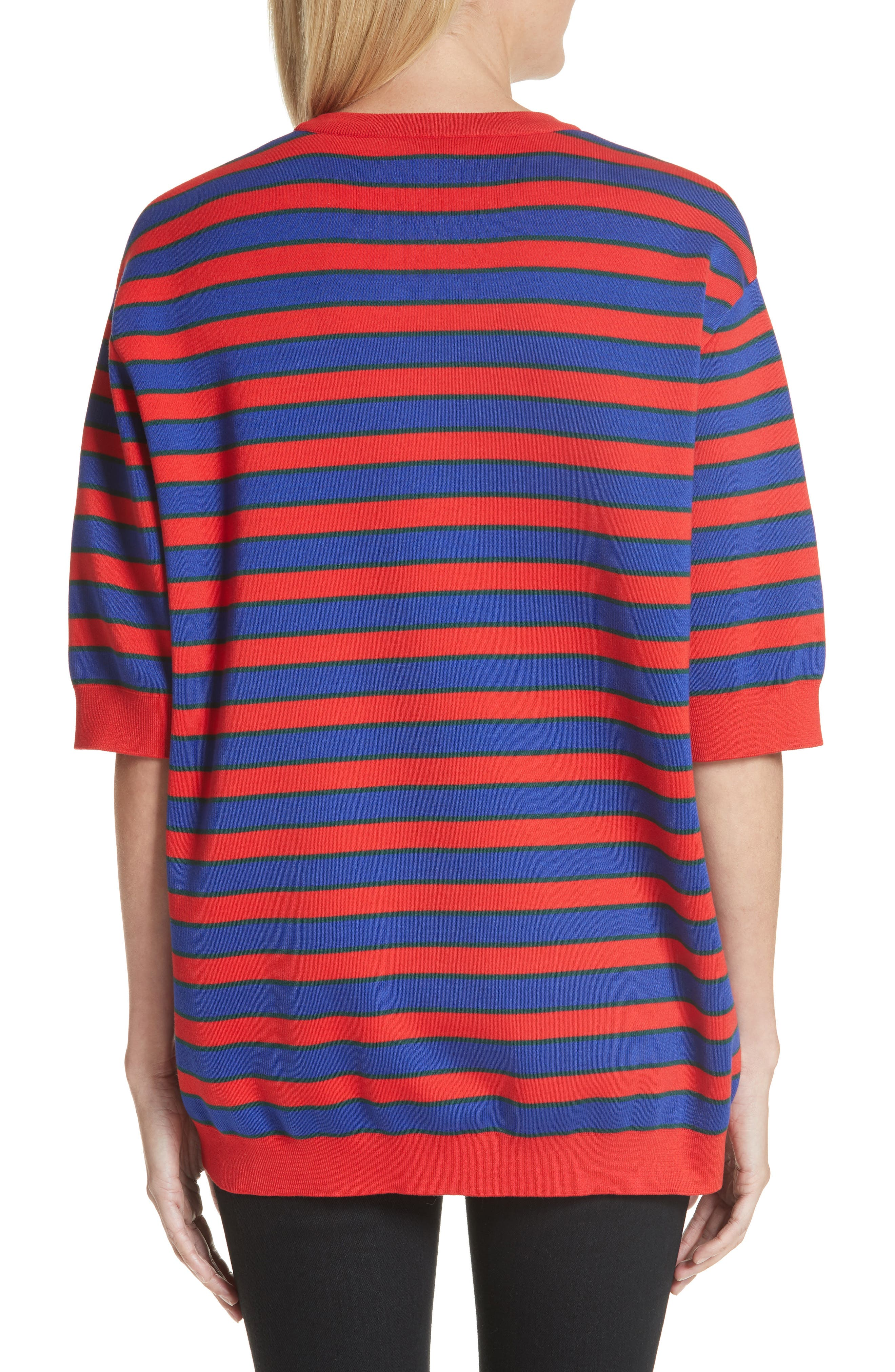 Short Sleeve Stripe Sweater,                             Alternate thumbnail 2, color,                             Red/ Blue