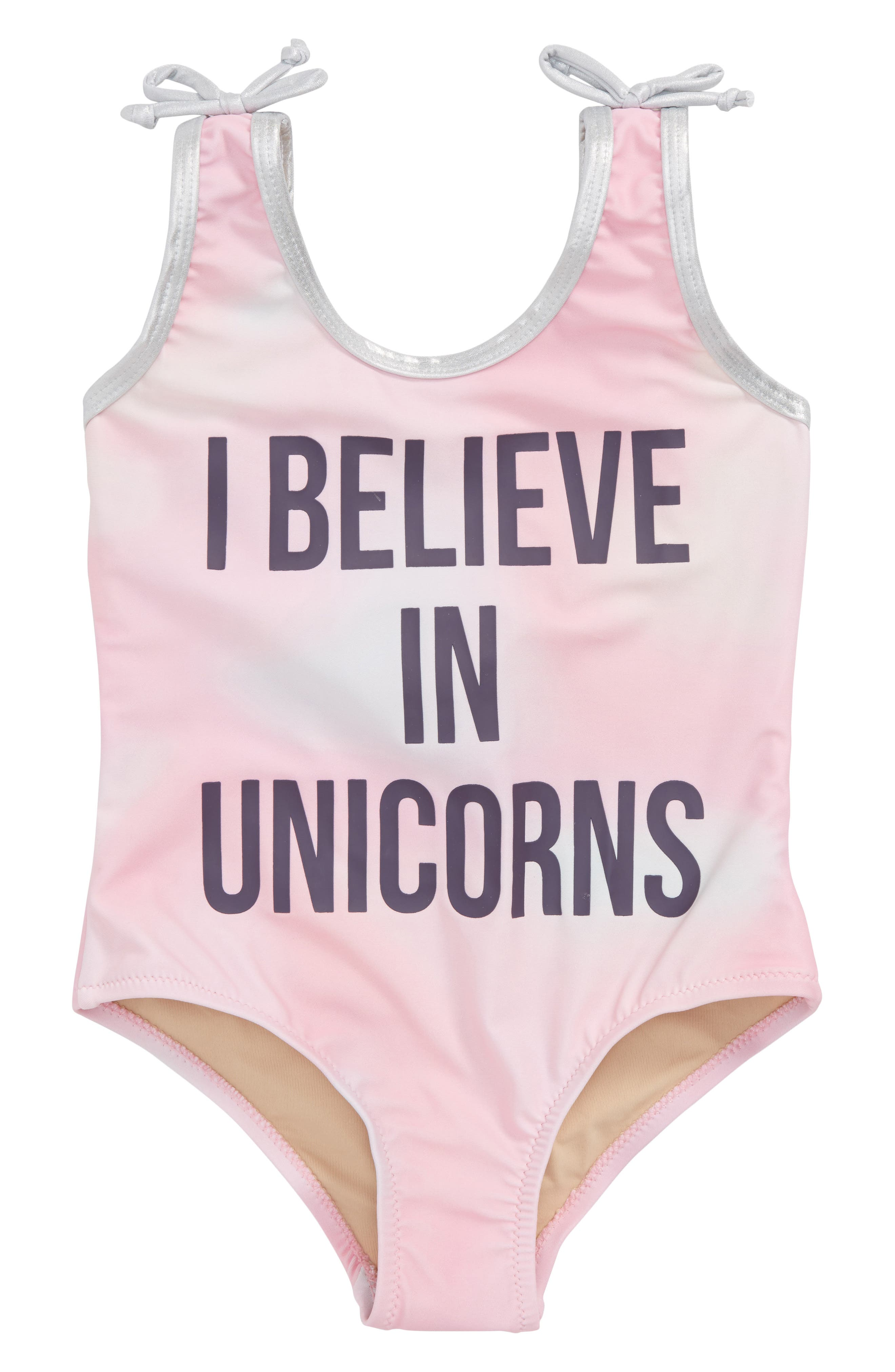 I Believe in Unicorns Tie Dye One-Piece Swimsuit,                             Main thumbnail 1, color,                             Coral