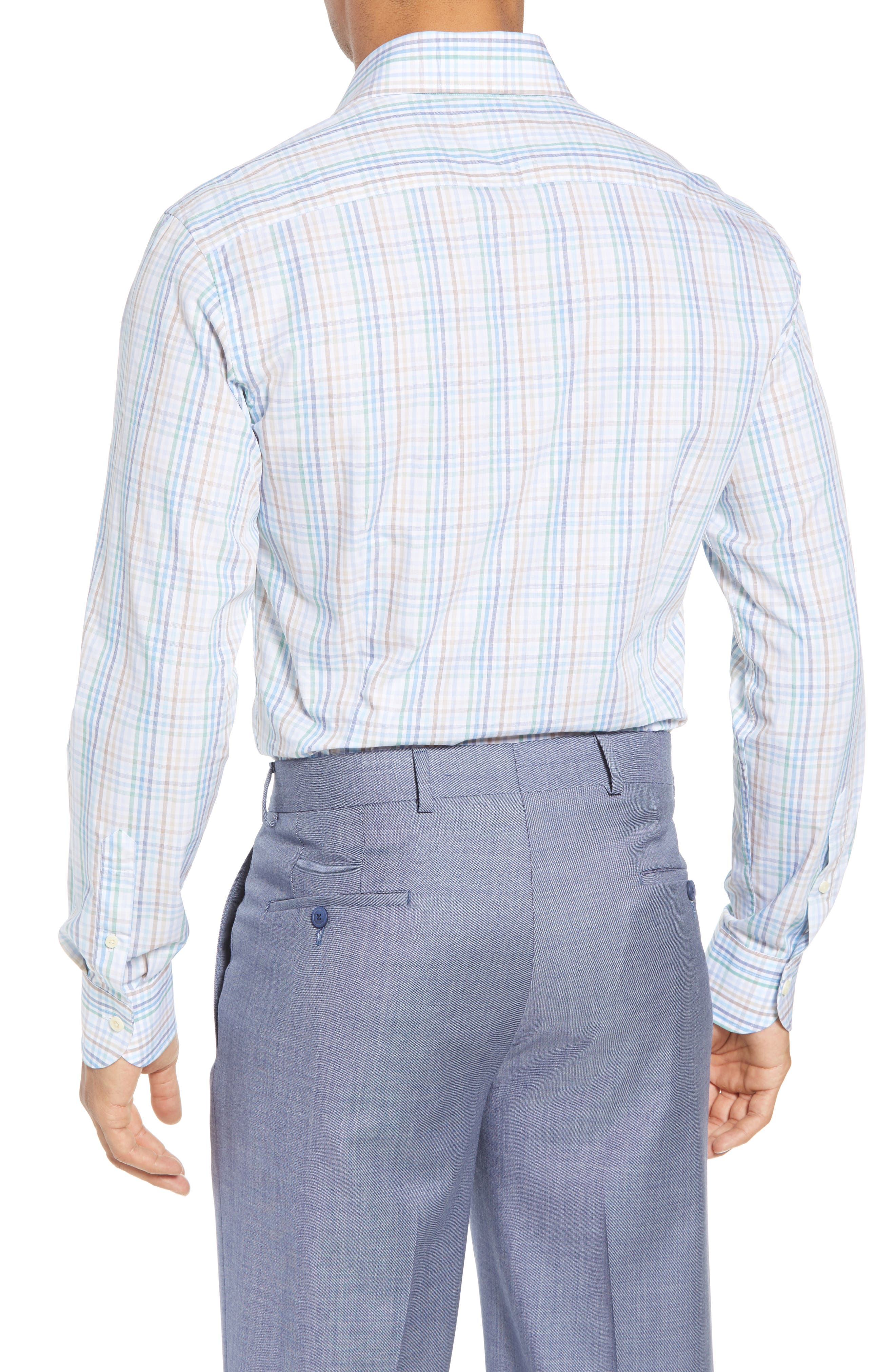 Albright Slim Fit Check Dress Shirt,                             Alternate thumbnail 3, color,                             Hunter