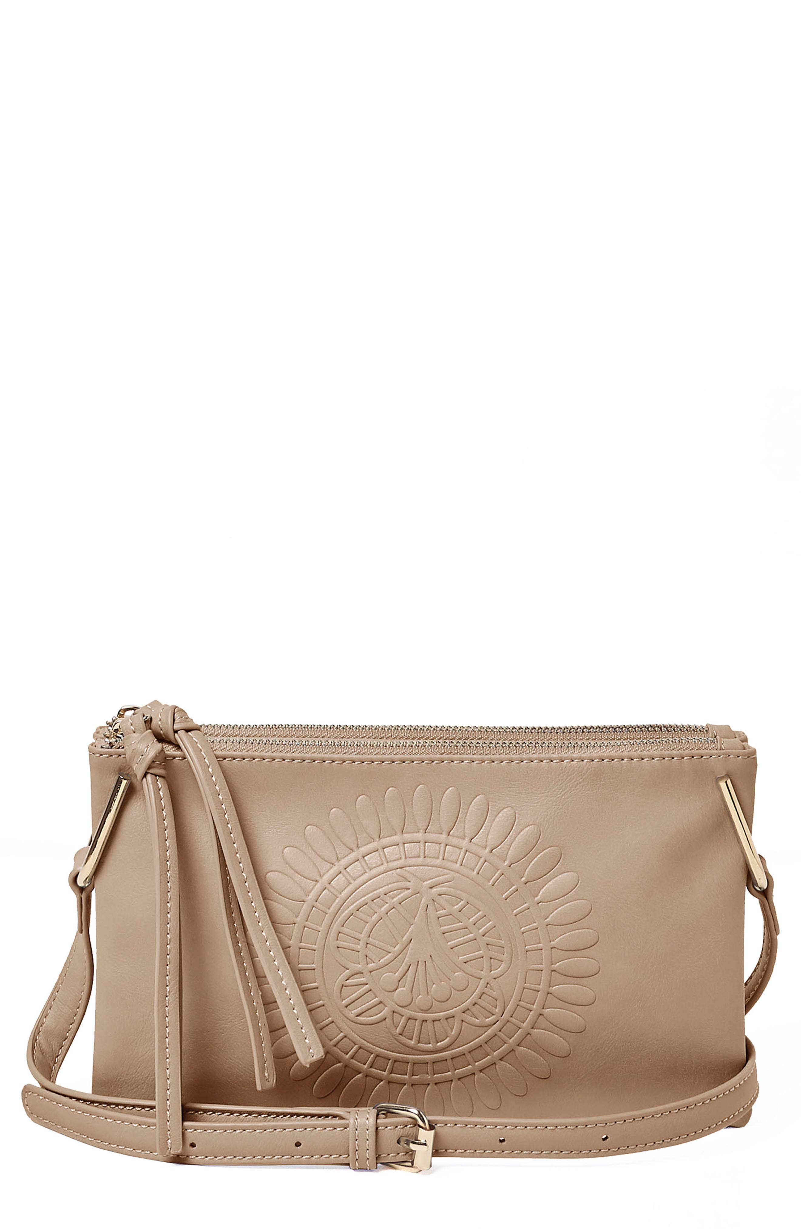 Flower Vegan Leather Crossbody Bag,                             Main thumbnail 1, color,                             Taupe