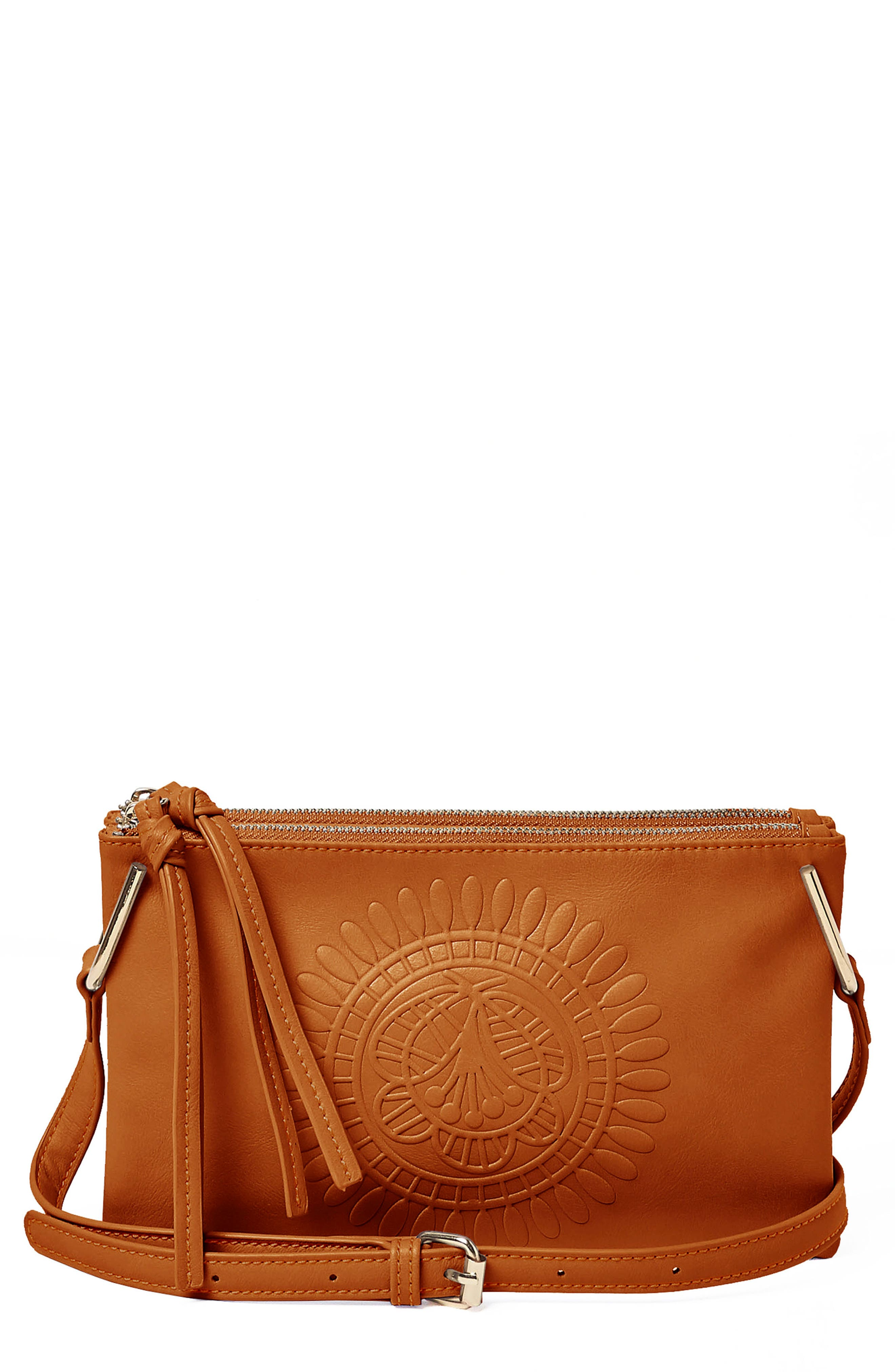 Urban Originals FLOWER VEGAN LEATHER CROSSBODY BAG - BROWN
