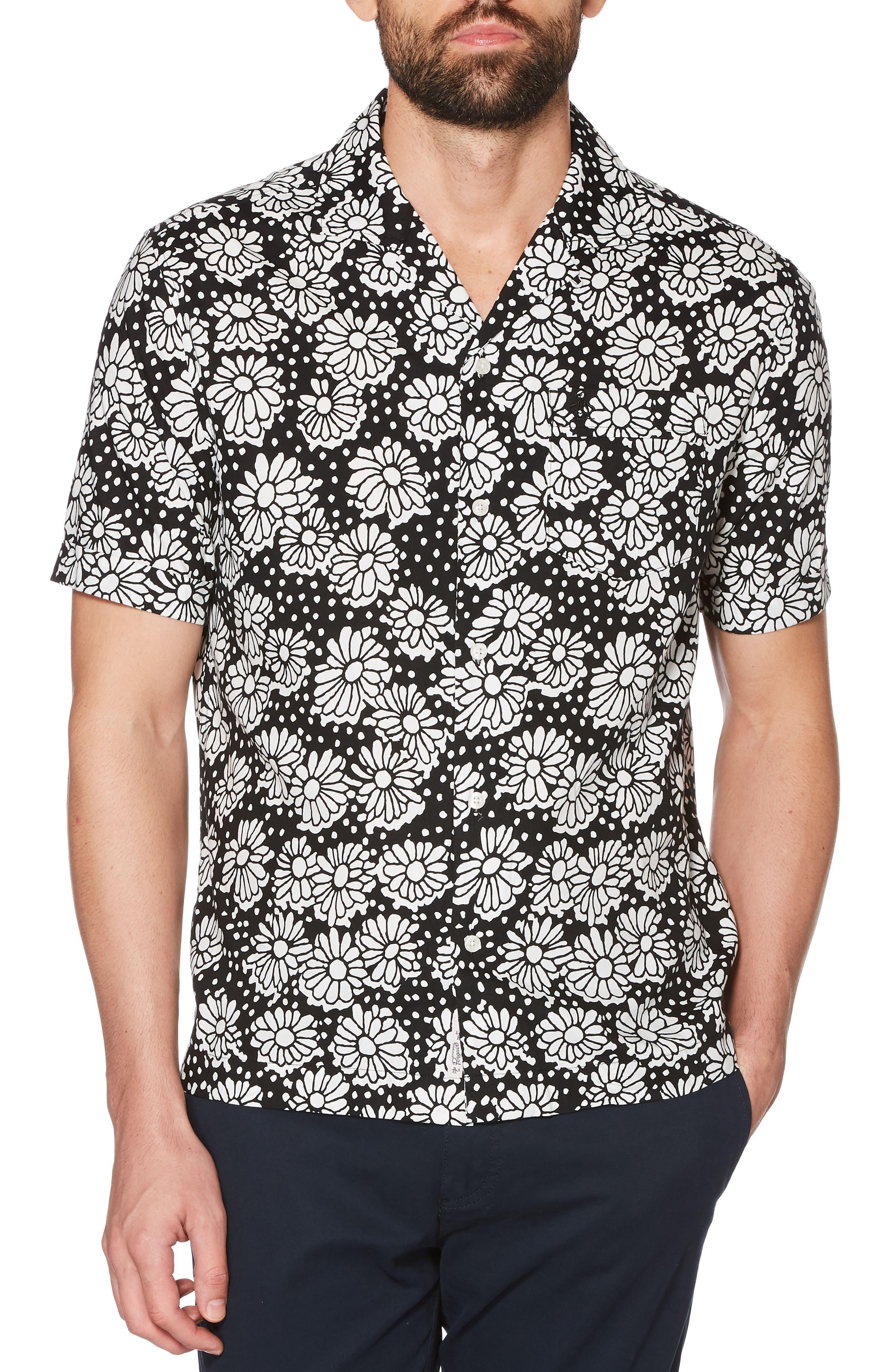 Daisy Print Camp Shirt,                             Main thumbnail 1, color,                             True Black
