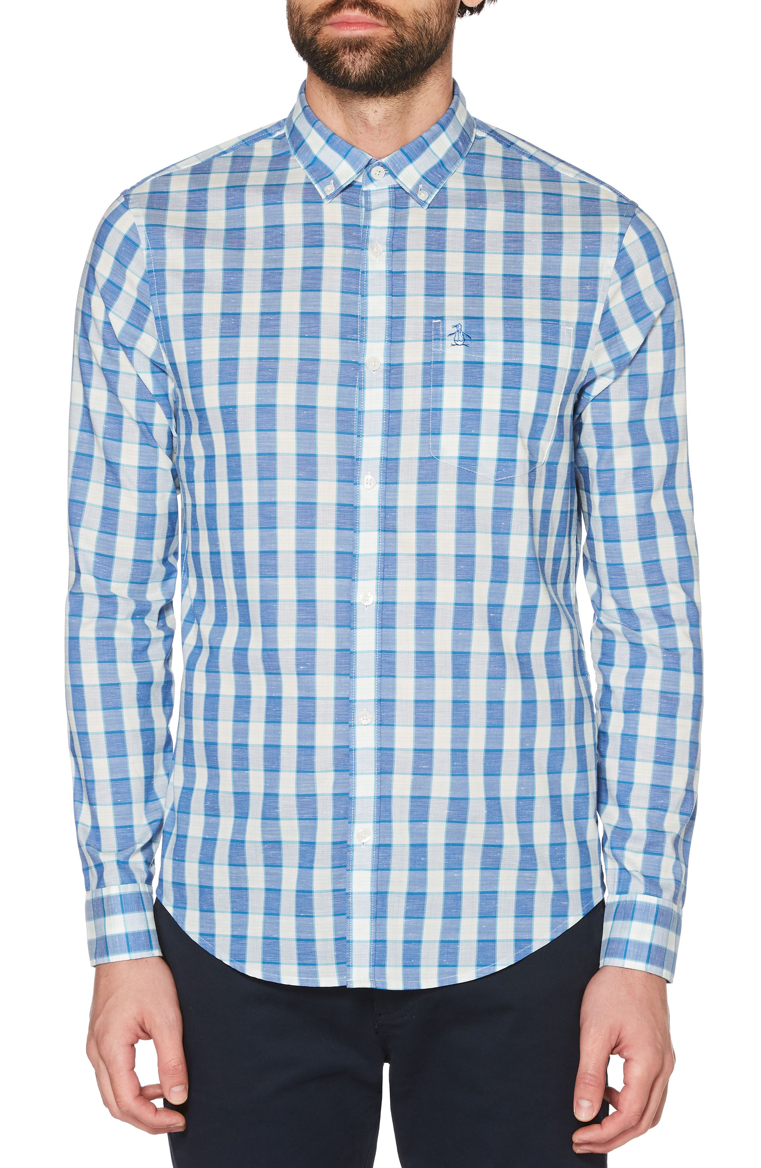 Nep Plaid Woven Shirt,                             Main thumbnail 1, color,                             Turkish Sea