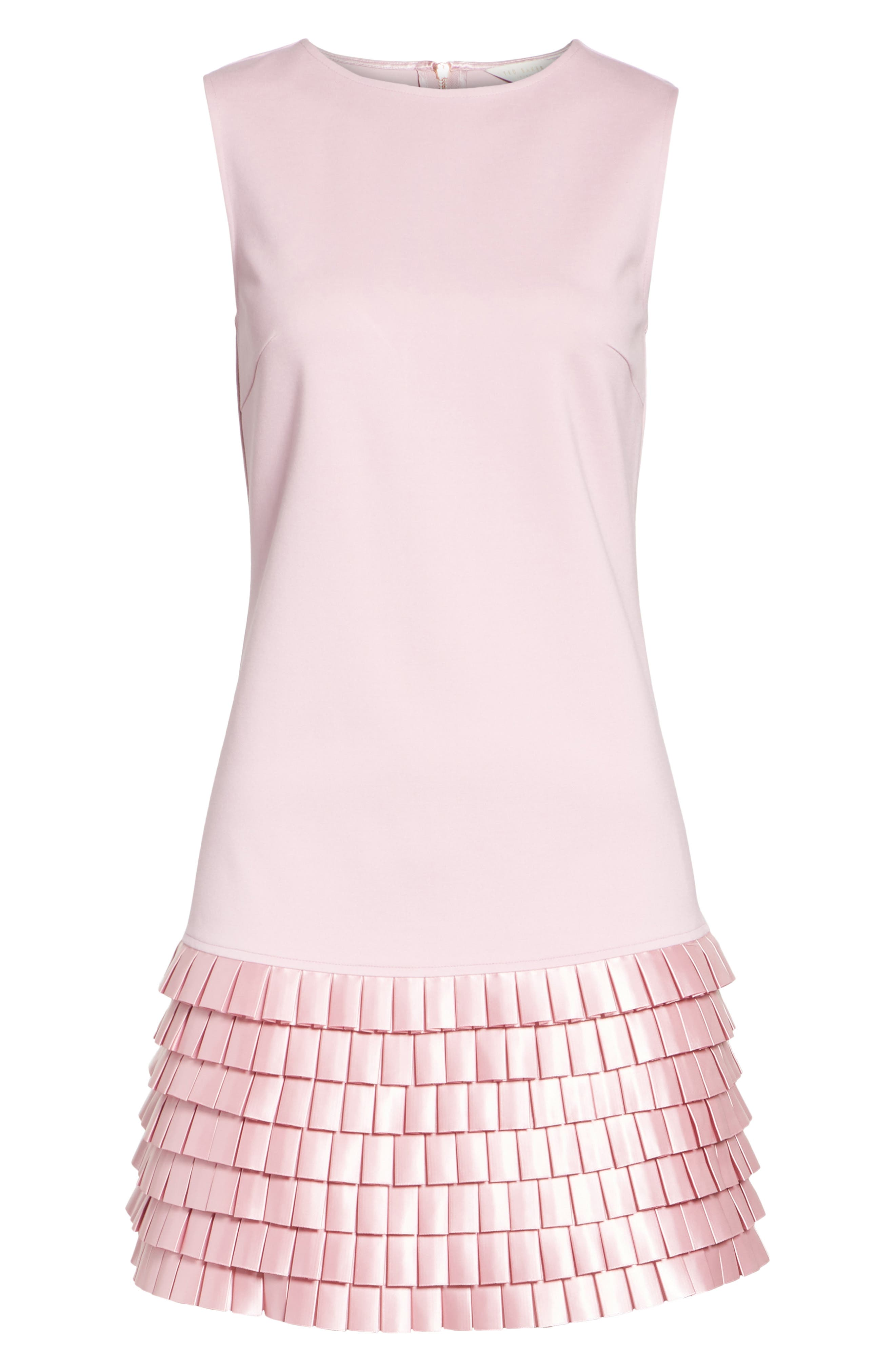Satin Pleat Detail Shift Dress,                             Alternate thumbnail 6, color,                             Pale Pink