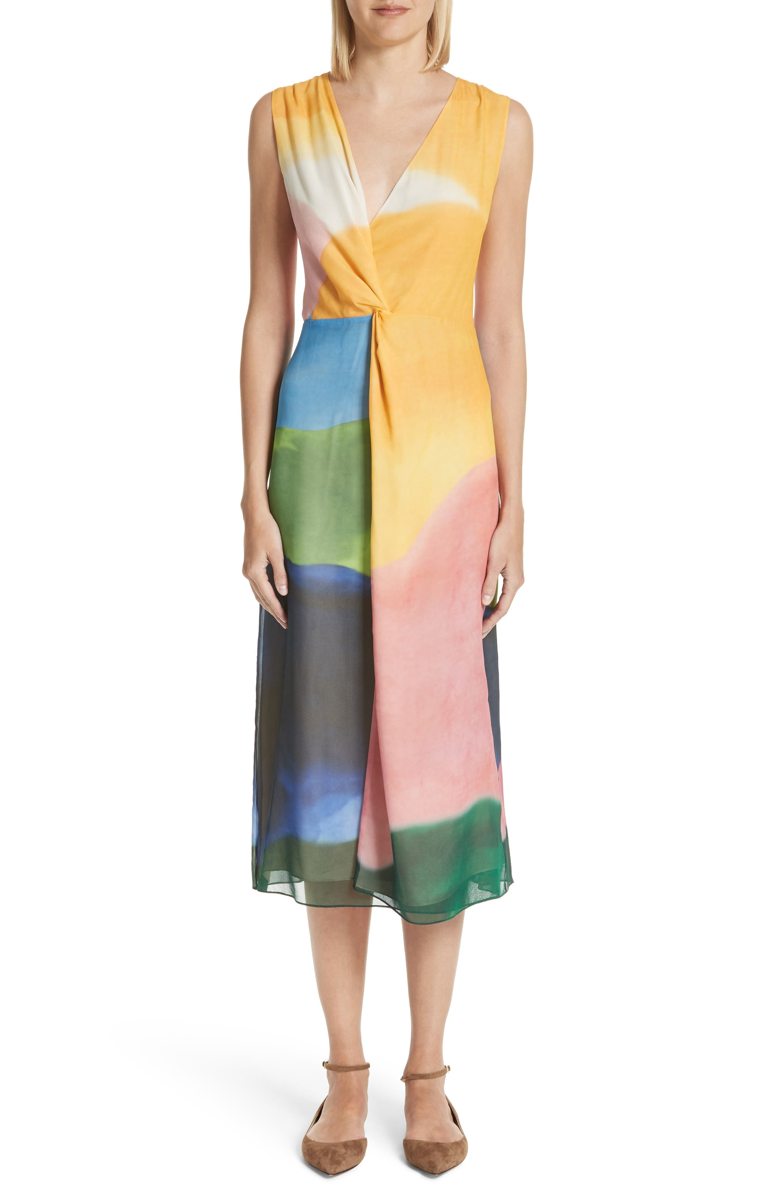 Watercolor Twisted Silk Midi Dress,                         Main,                         color, Multi