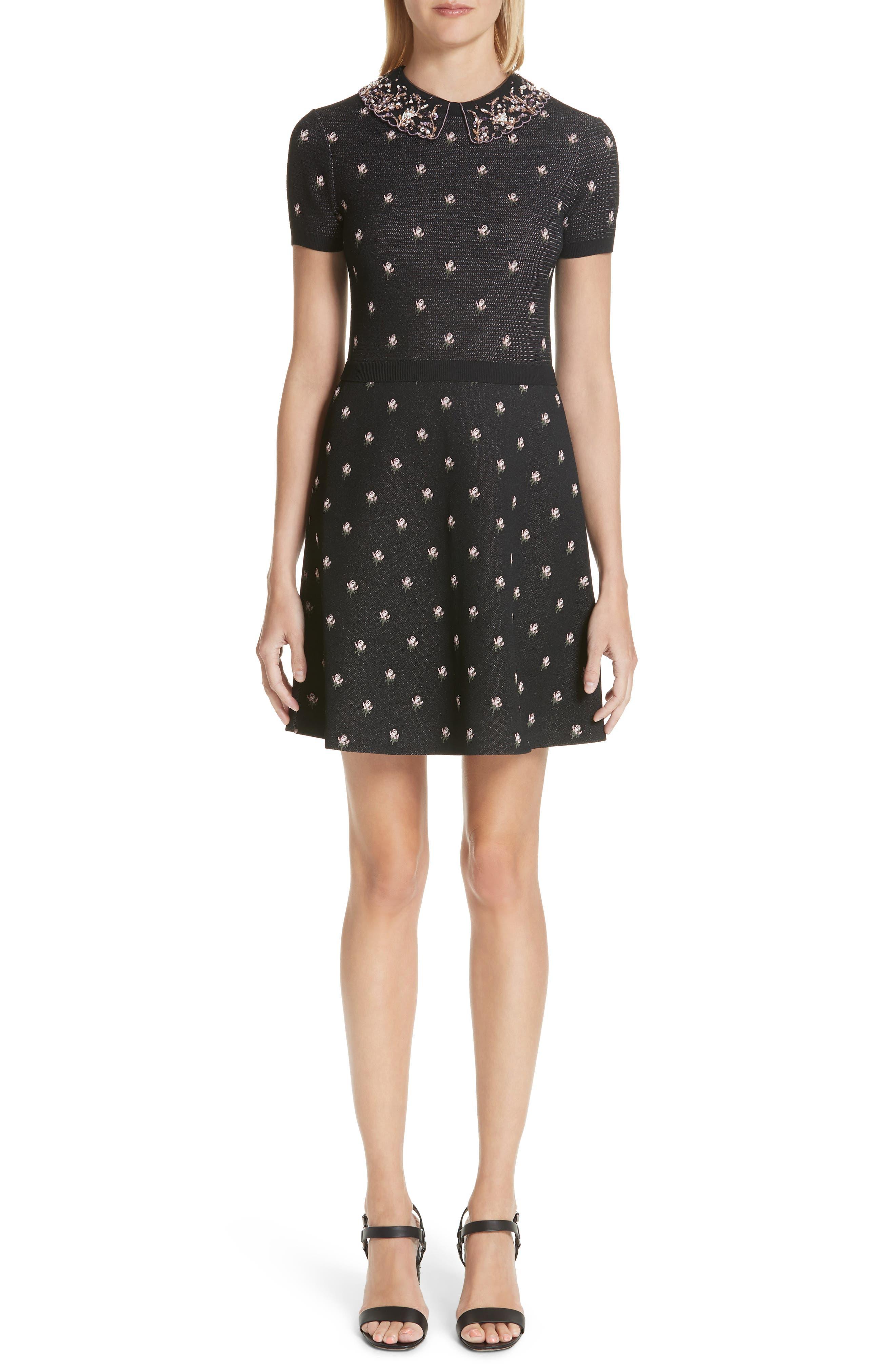 Valentino Embellished Collar Floral Jacquard Dress