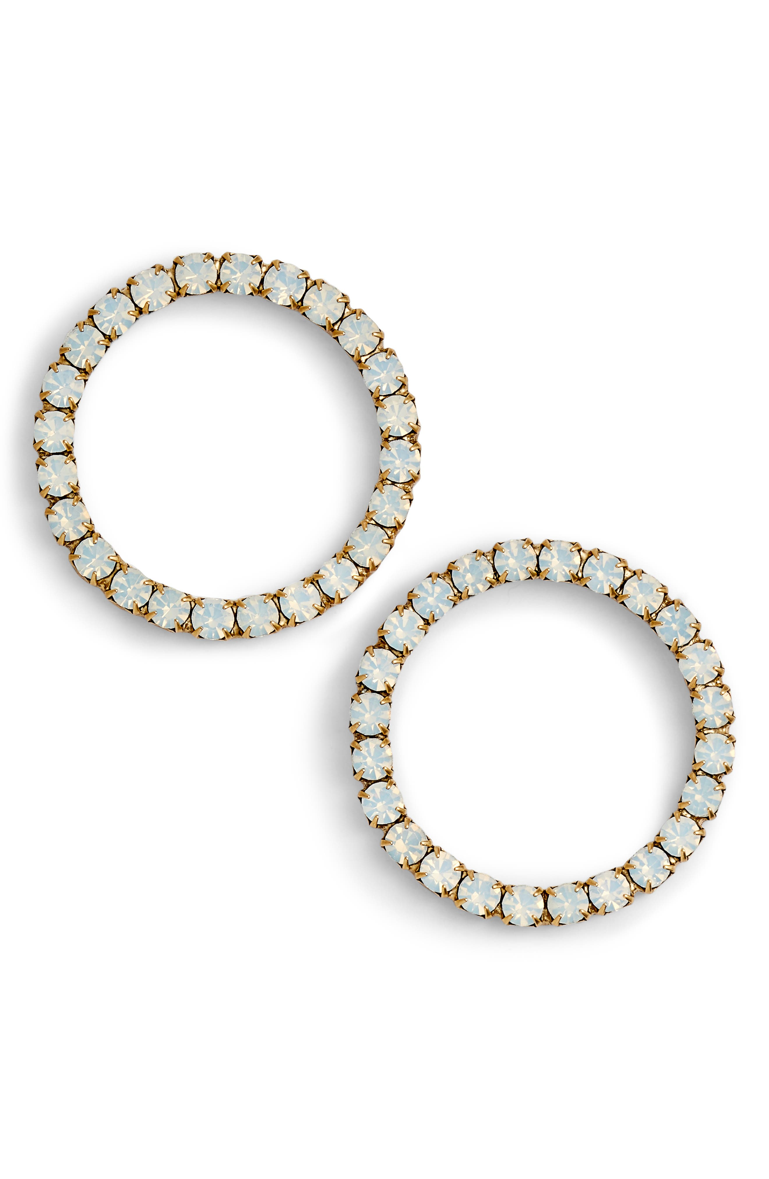 Fiona Hoop Earrings,                         Main,                         color, White/ Gold