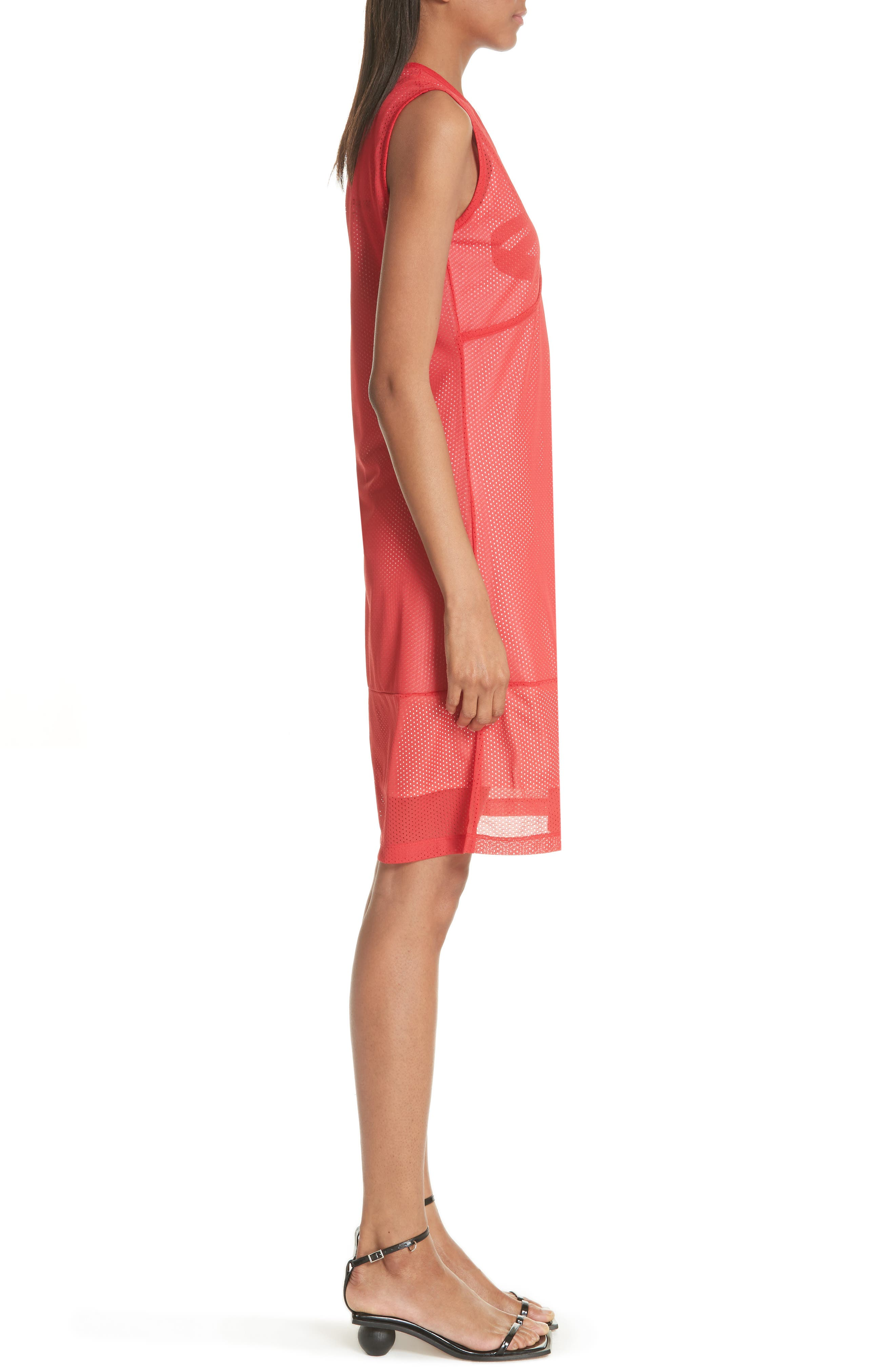 Mesh Layer Dress,                             Alternate thumbnail 3, color,                             Fire Red