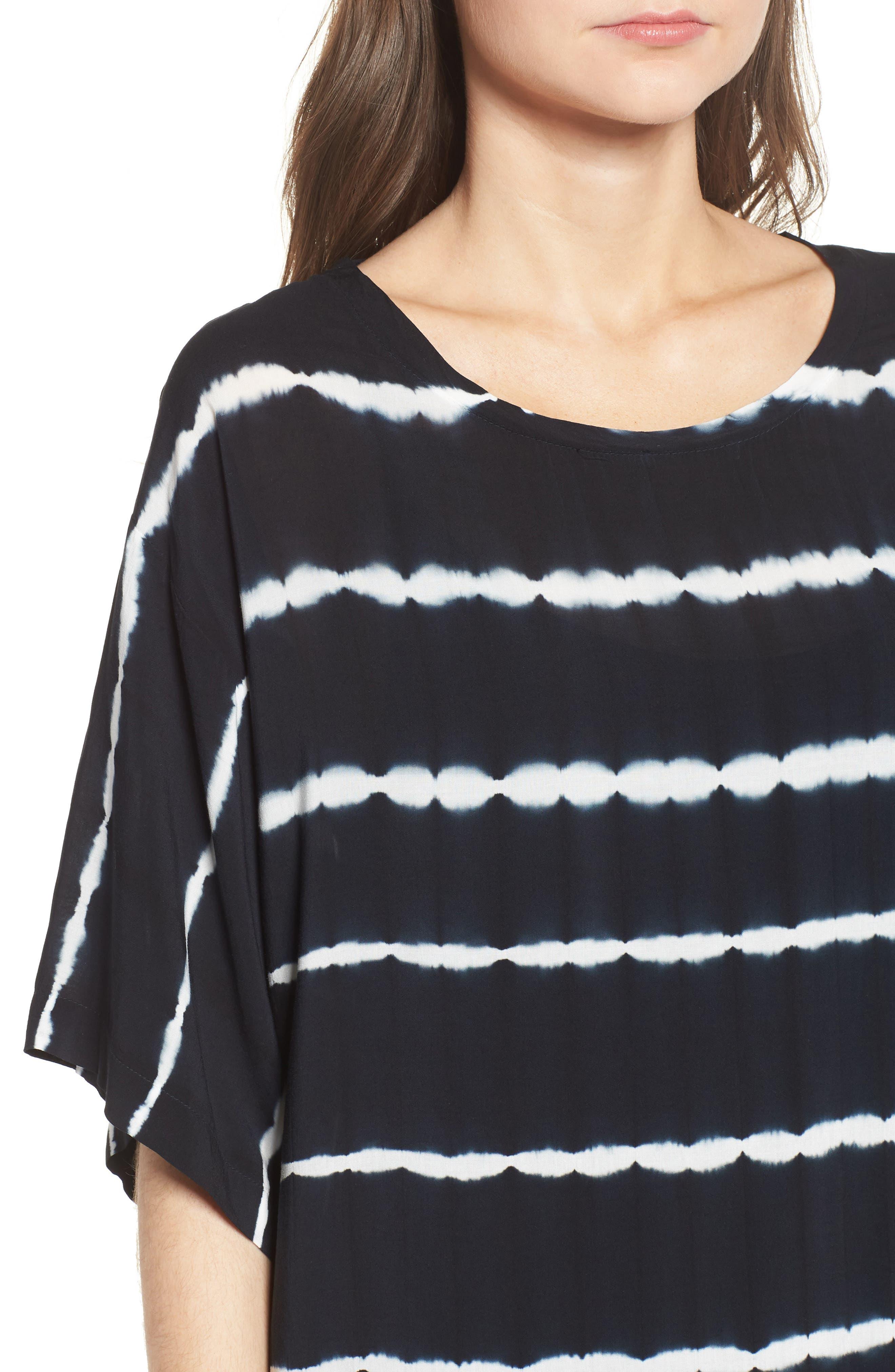Tie Dye Stripe T-Shirt Dress,                             Alternate thumbnail 4, color,                             Navy/ White