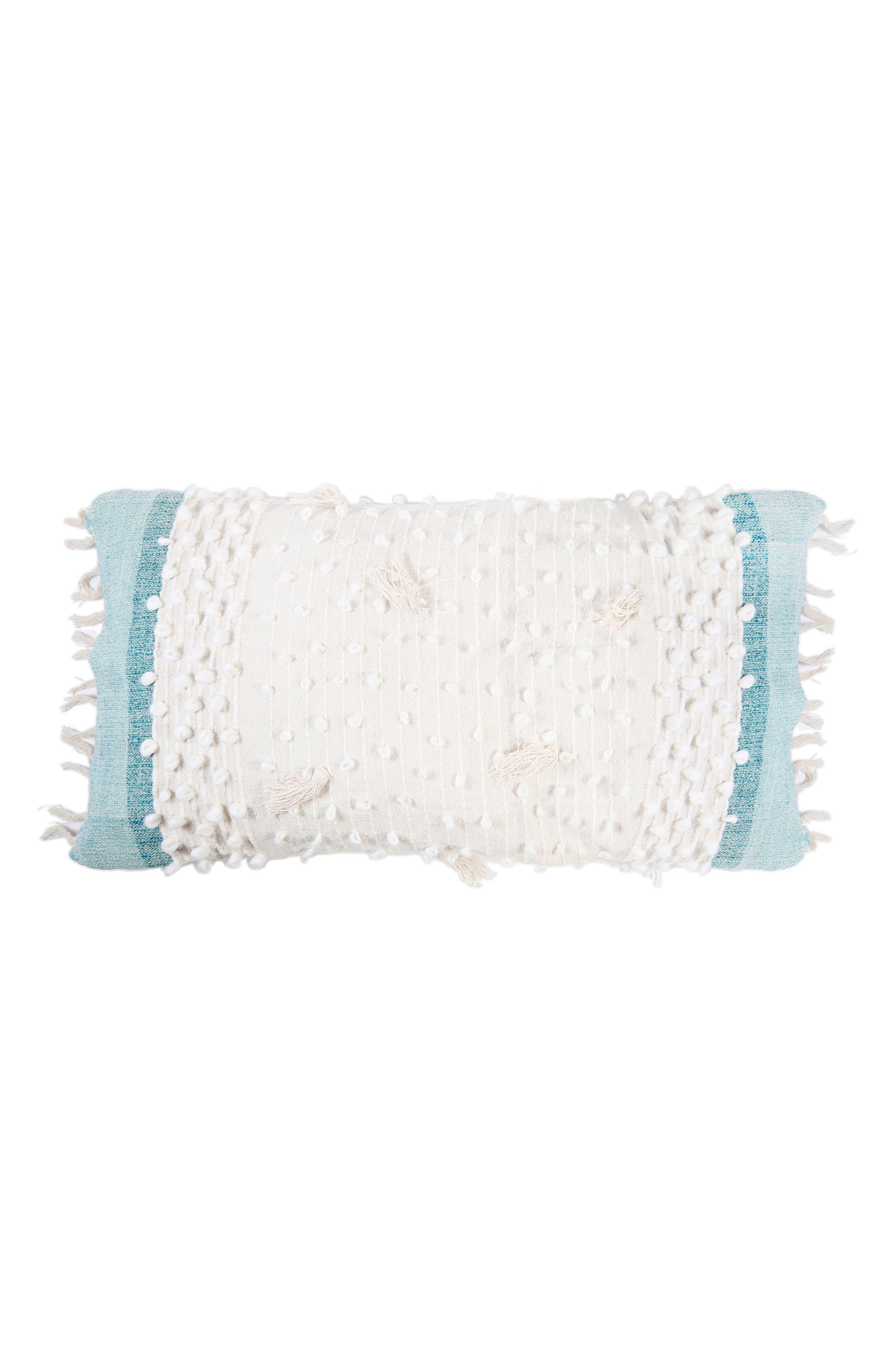 Ziggy Accent Pillow,                             Main thumbnail 1, color,                             Ivory/ Aqua