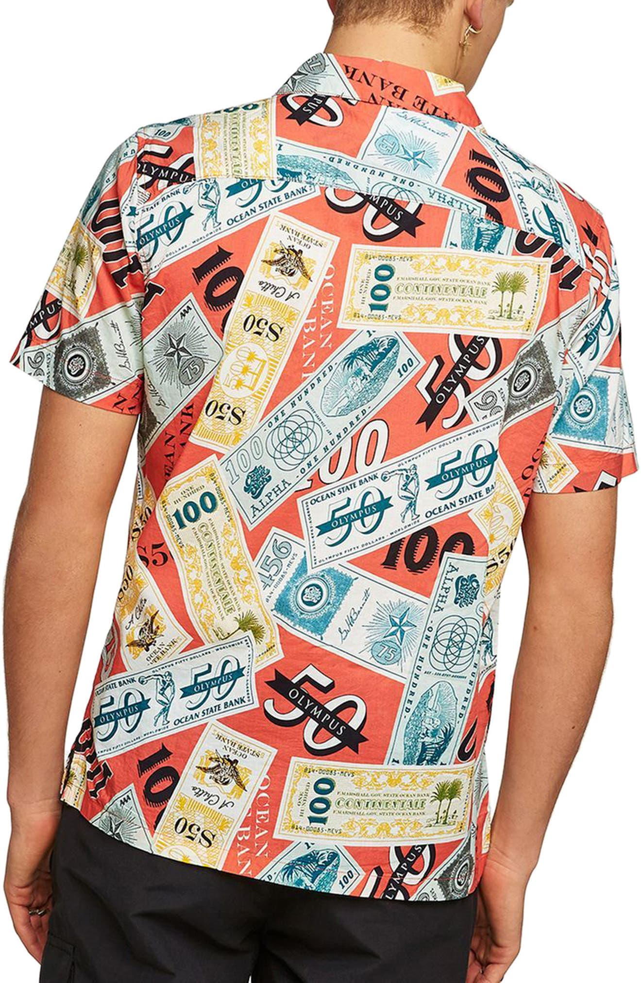 Classic Fit Money Print Woven Shirt,                             Alternate thumbnail 3, color,                             Red Multi
