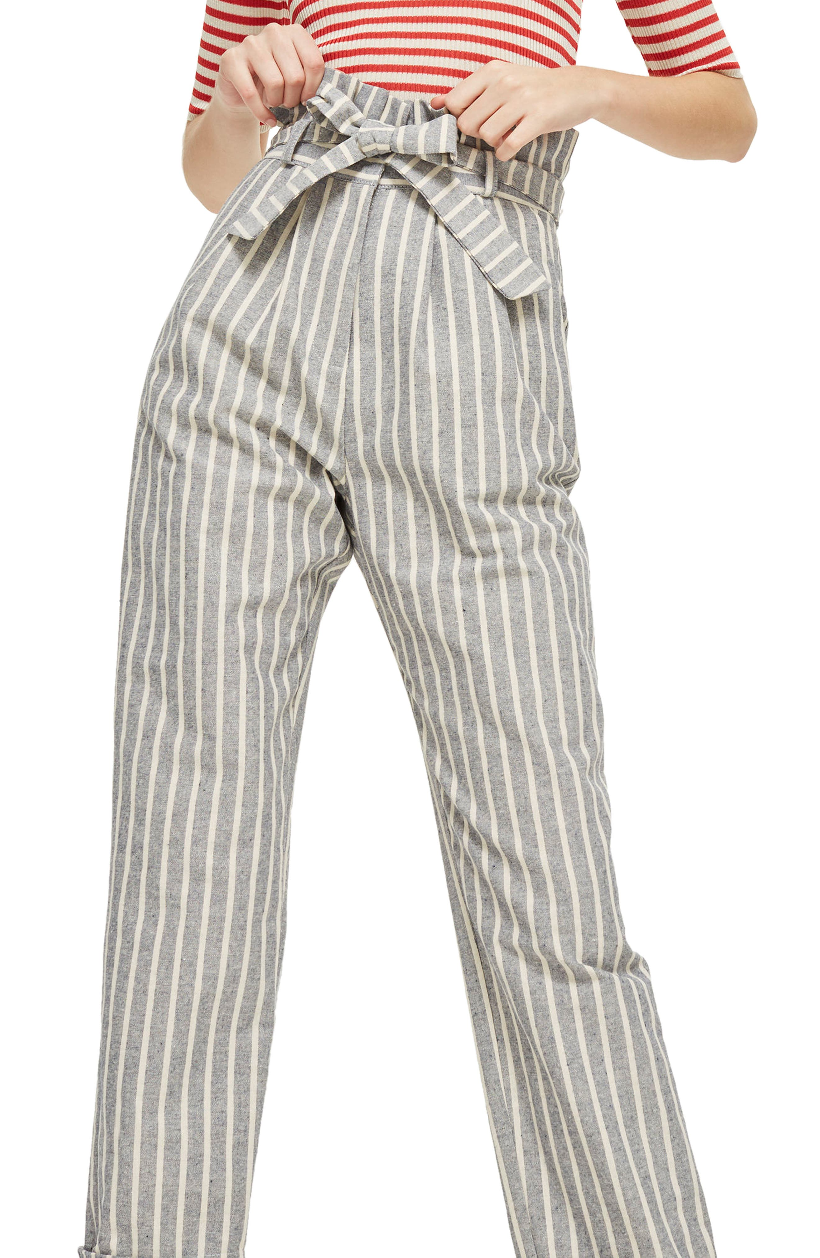 Alternate Image 3  - Topshop Belted Stripe Roll-Cuff Trousers