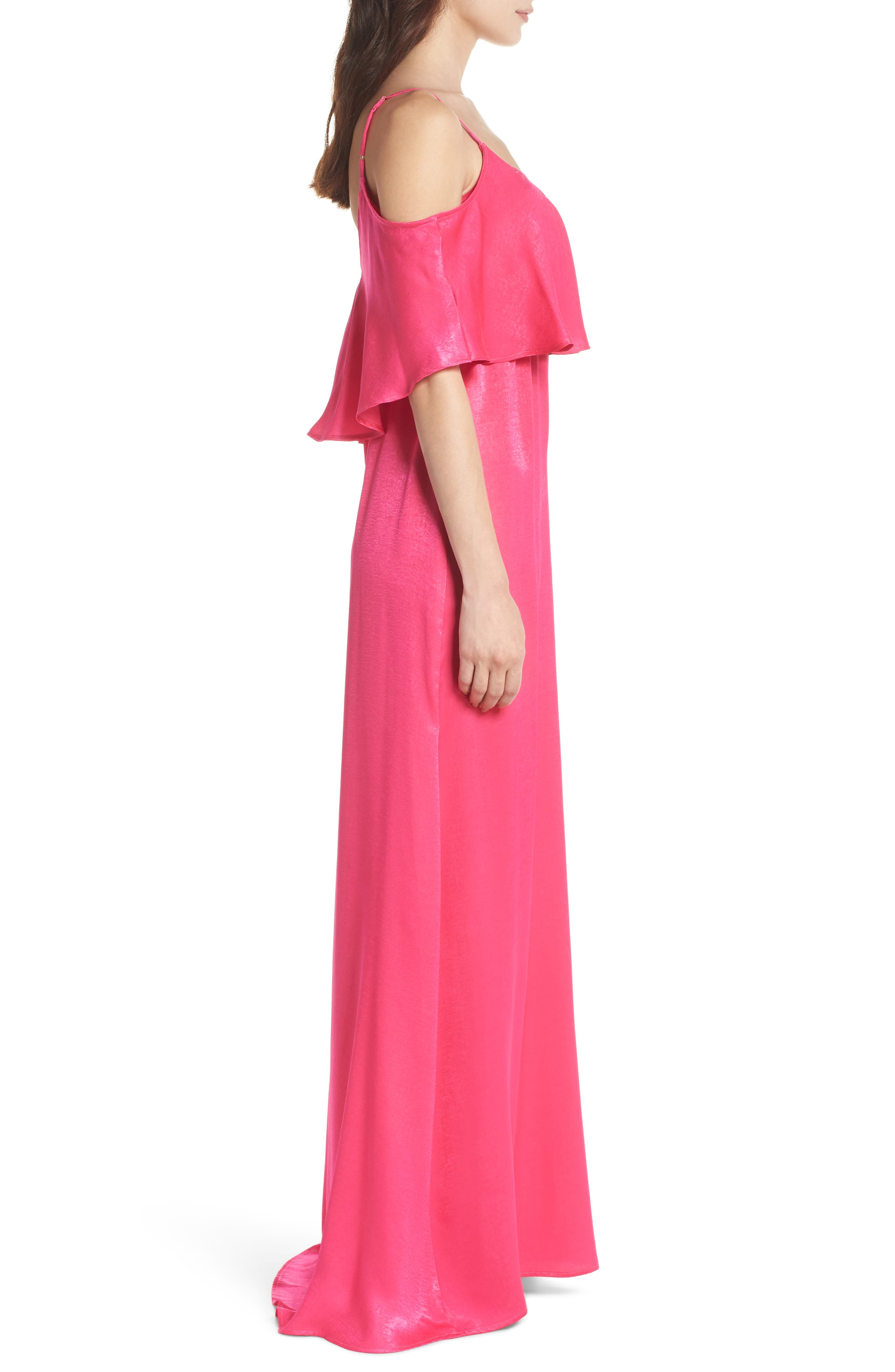 Caitlin Cold Shoulder Chiffon Gown,                             Alternate thumbnail 3, color,                             Flirty Fuchsia Sheen