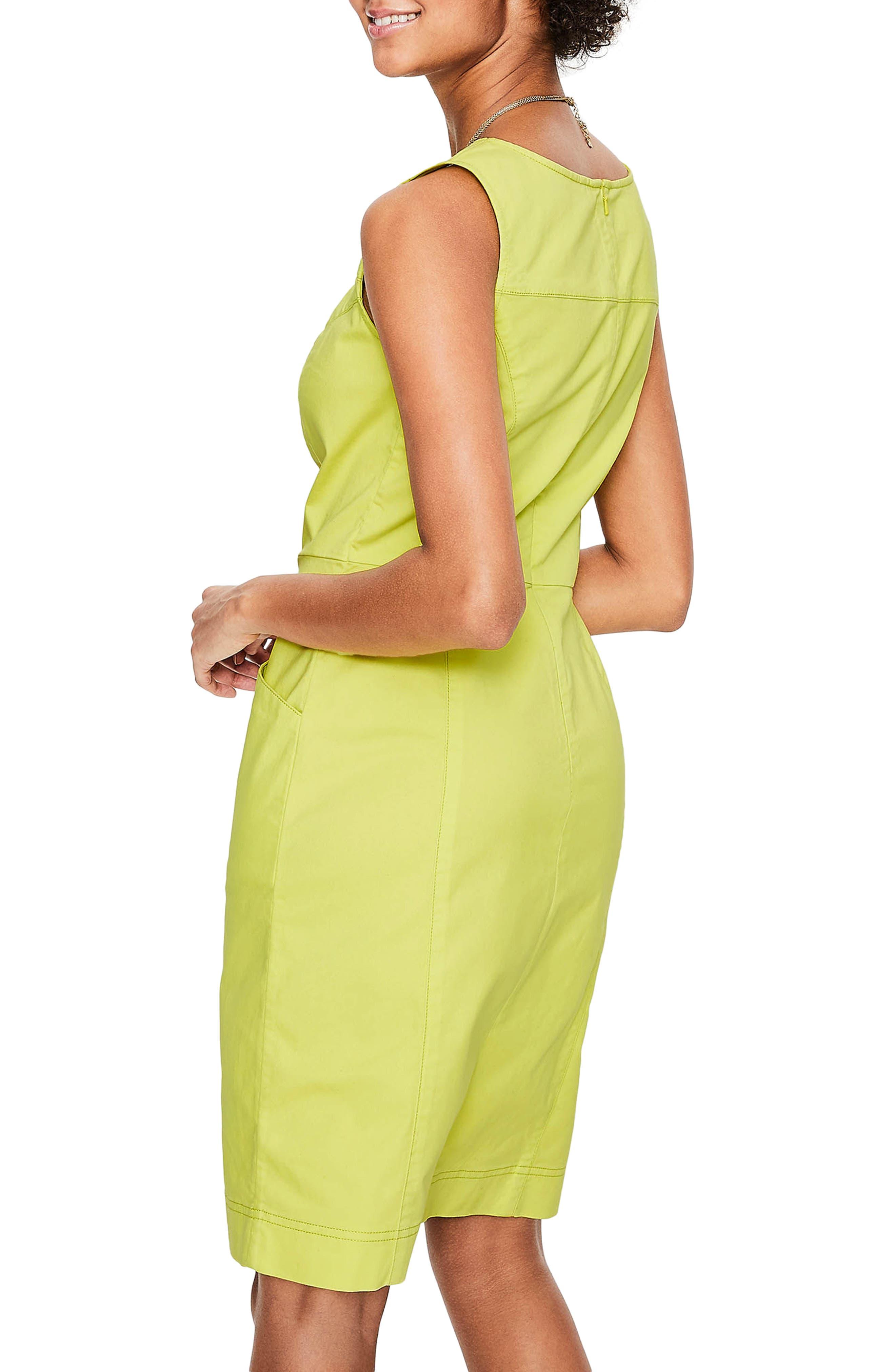 Tamara Stretch Cotton Sleeveless Dress,                             Alternate thumbnail 3, color,                             Citrus