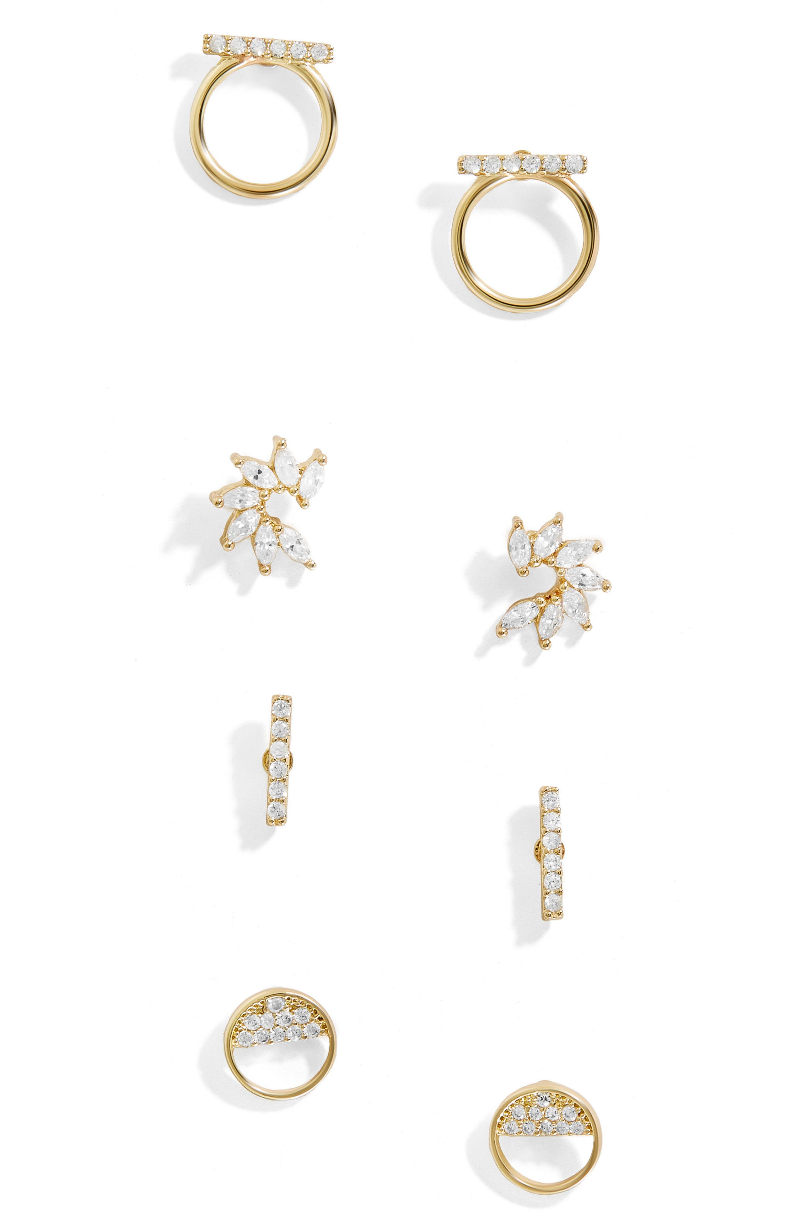 Delicate Set of 4 Stud Earrings,                         Main,                         color, Gold