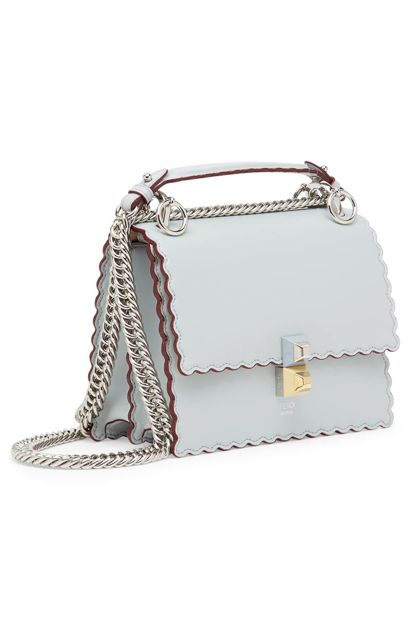 Mini Kan I Scalloped Leather Shoulder Bag,                             Alternate thumbnail 4, color,                             Grigio Perla/ Palladio