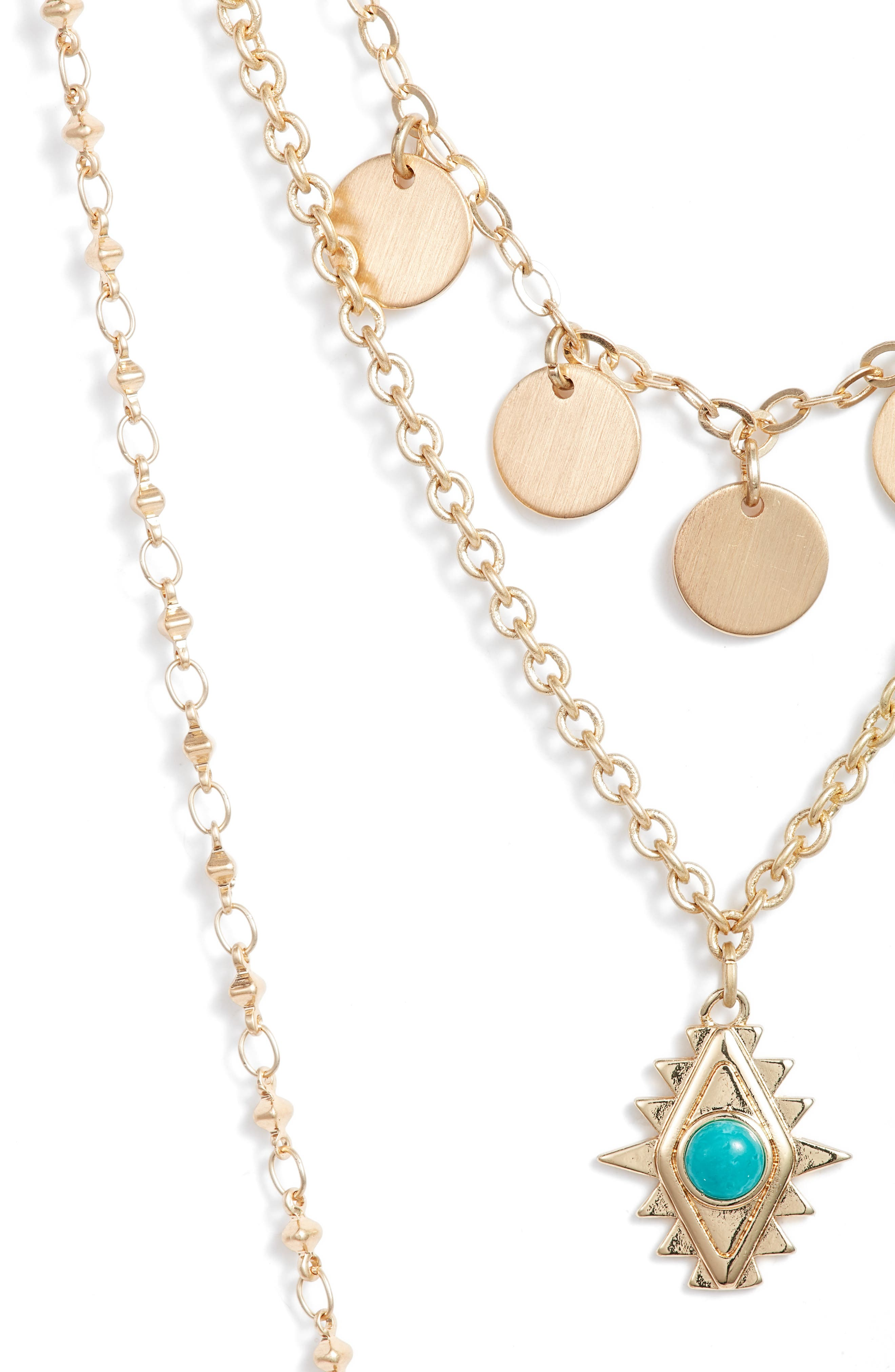 Triple Layer Charm Necklace,                             Alternate thumbnail 2, color,                             Gold