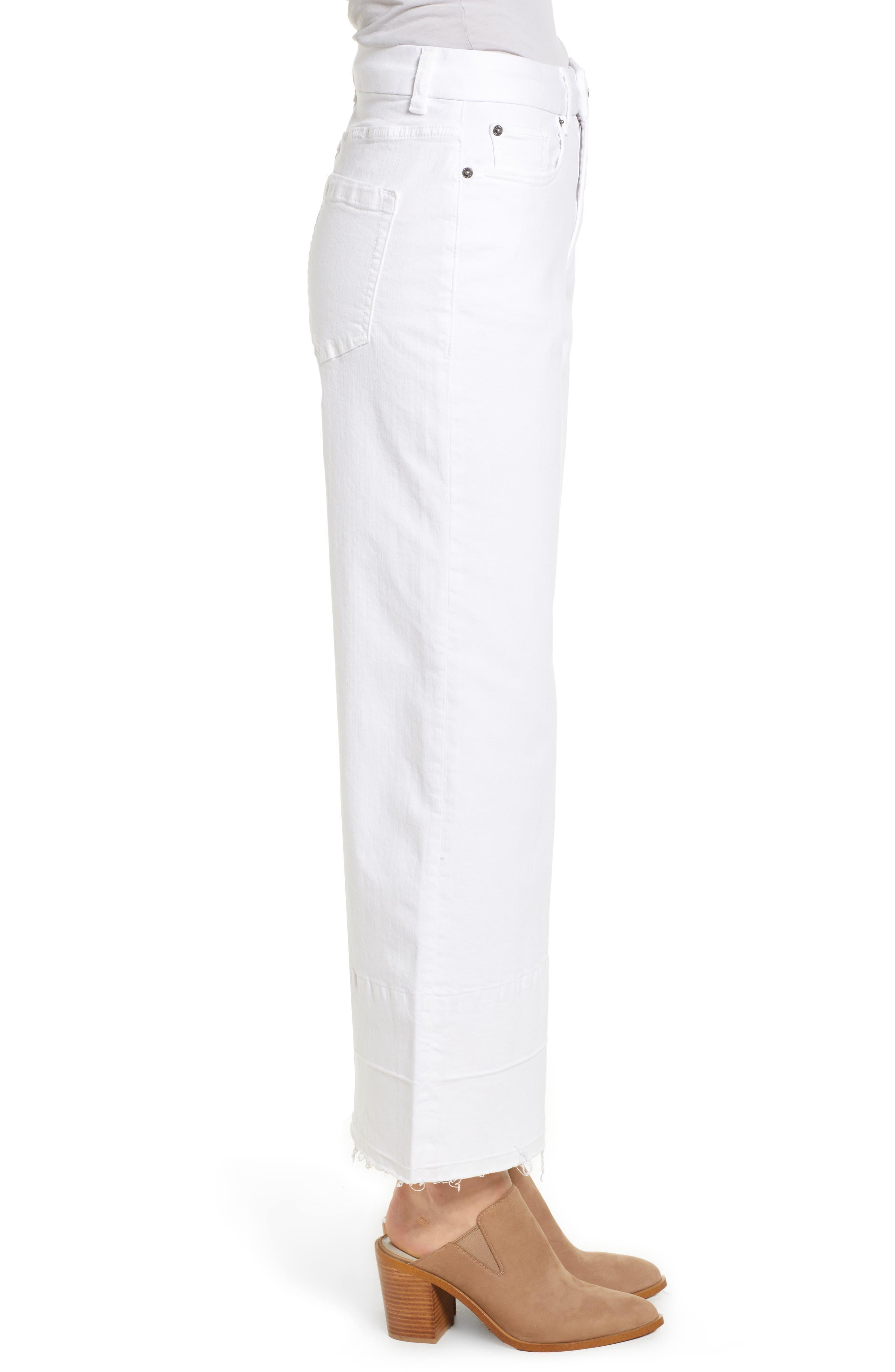 Released Hem Wide Leg Jeans,                             Alternate thumbnail 3, color,                             Ultra White